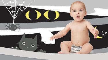 baby in halloween printed diaper