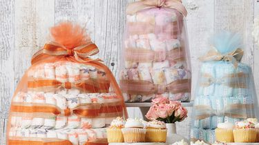 diaper cakes in various prints and sizes