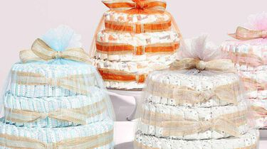 diaper cakes in various sizes and prints