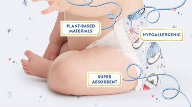 baby in winter diaper print