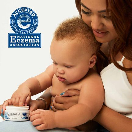 Mom and Baby using eczema products