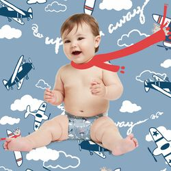 Up and away printed diaper
