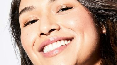 close up of model smiling