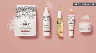 honest mama products with pink background and product smears