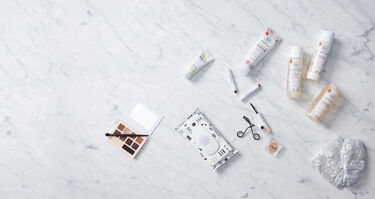 honest products on marble background