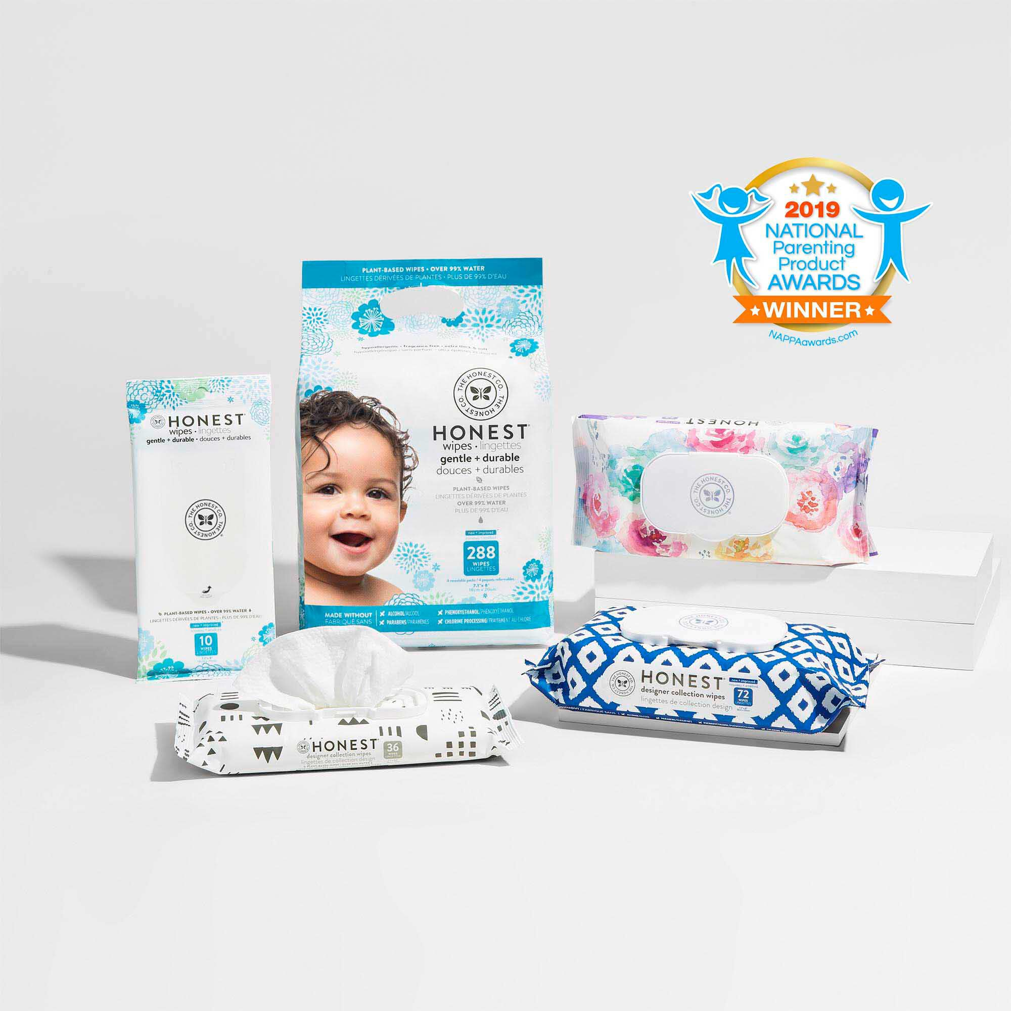 The Honest Company Designer Baby Wipes Pure /& Gentle Plant-Based extra Thick /& Durable Wet Wipes Rose Blossom Fragrance Free 576 count Over 99 Percent Water