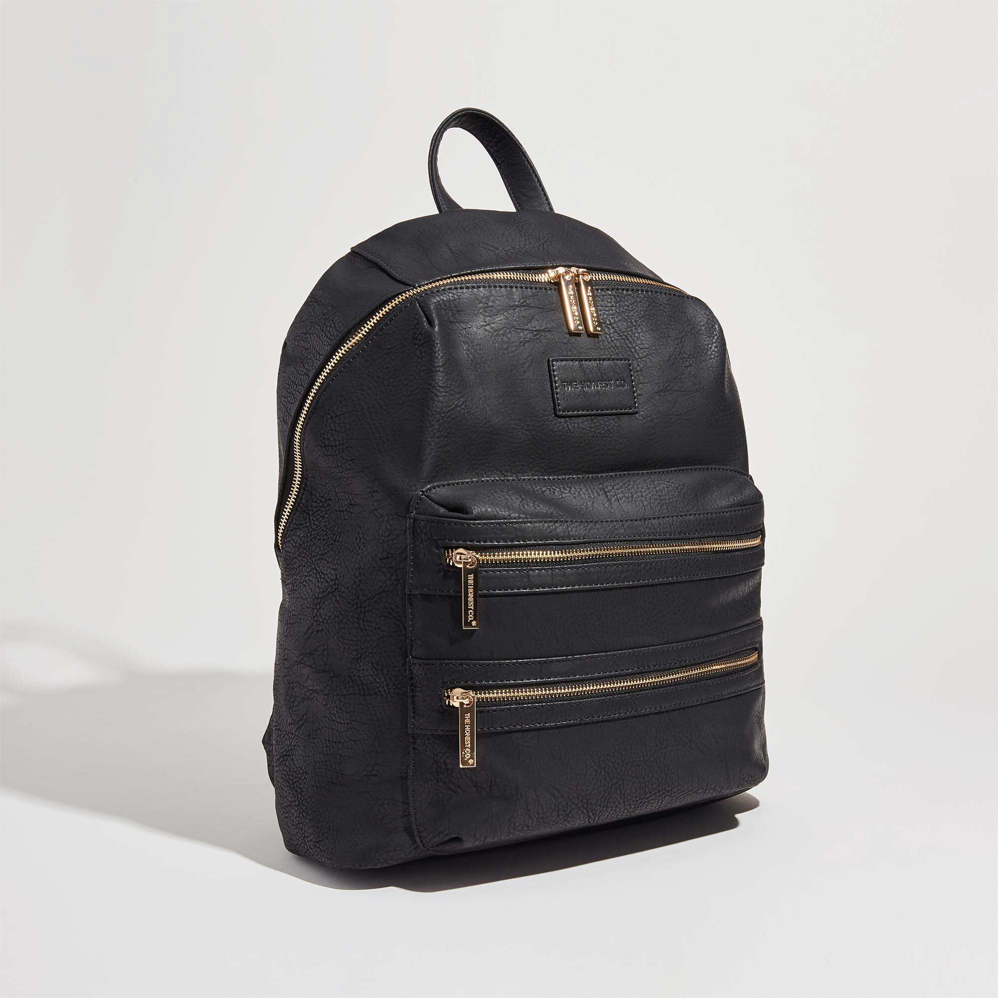 black leather backpack front shot