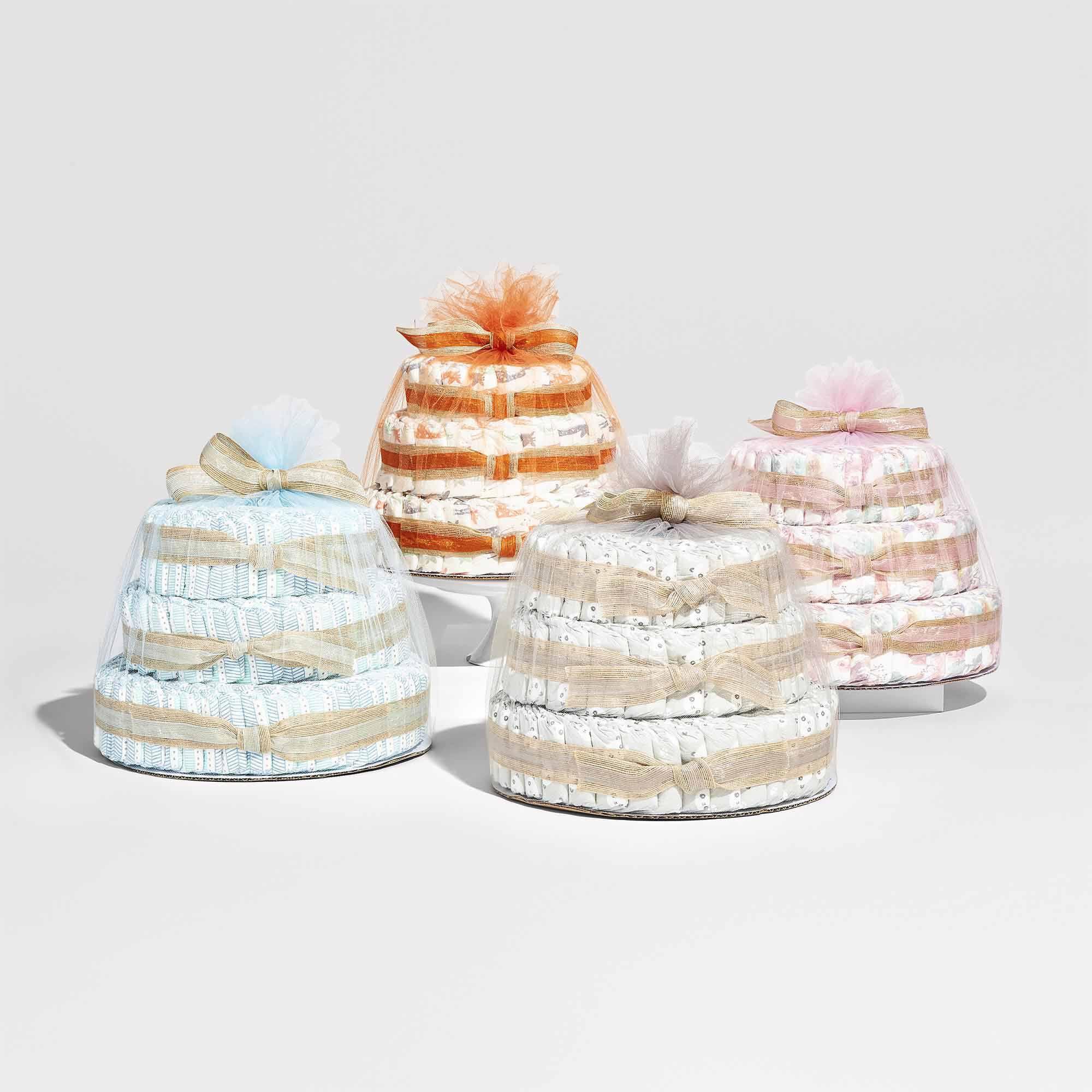 diaper cakes in various prints