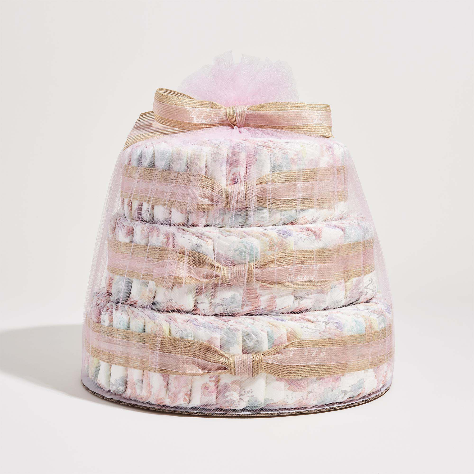 Rose Blossom Printed Diaper Cake
