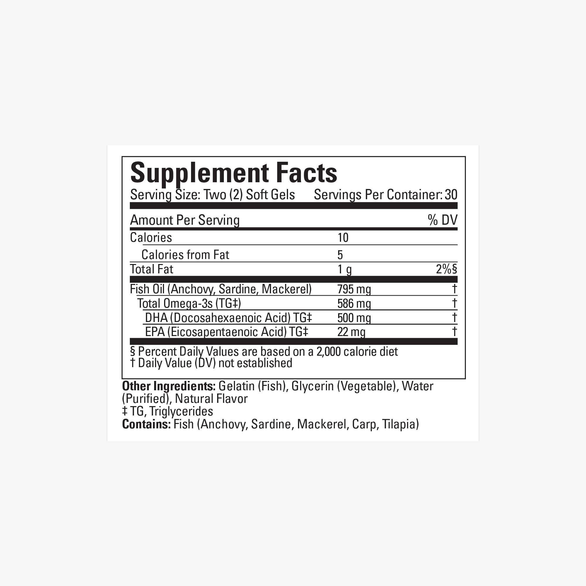 Prenatal DHA supplement fact panel
