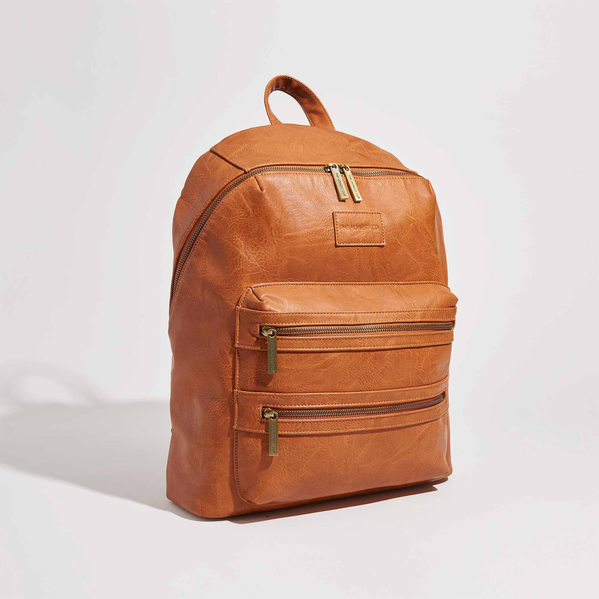 brown or cognac leather backpack front shot