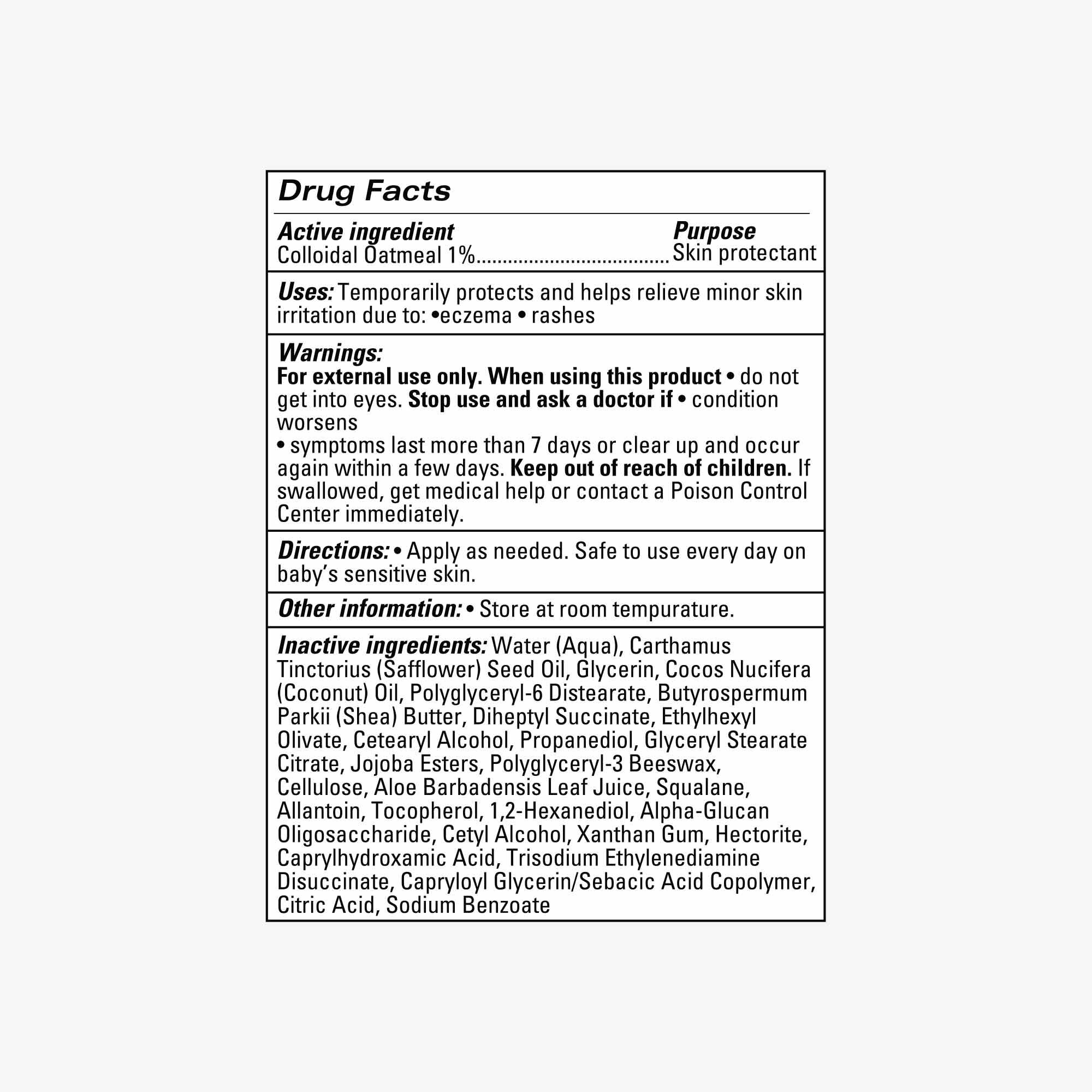 Soothing Therapy Cream drug fact panel