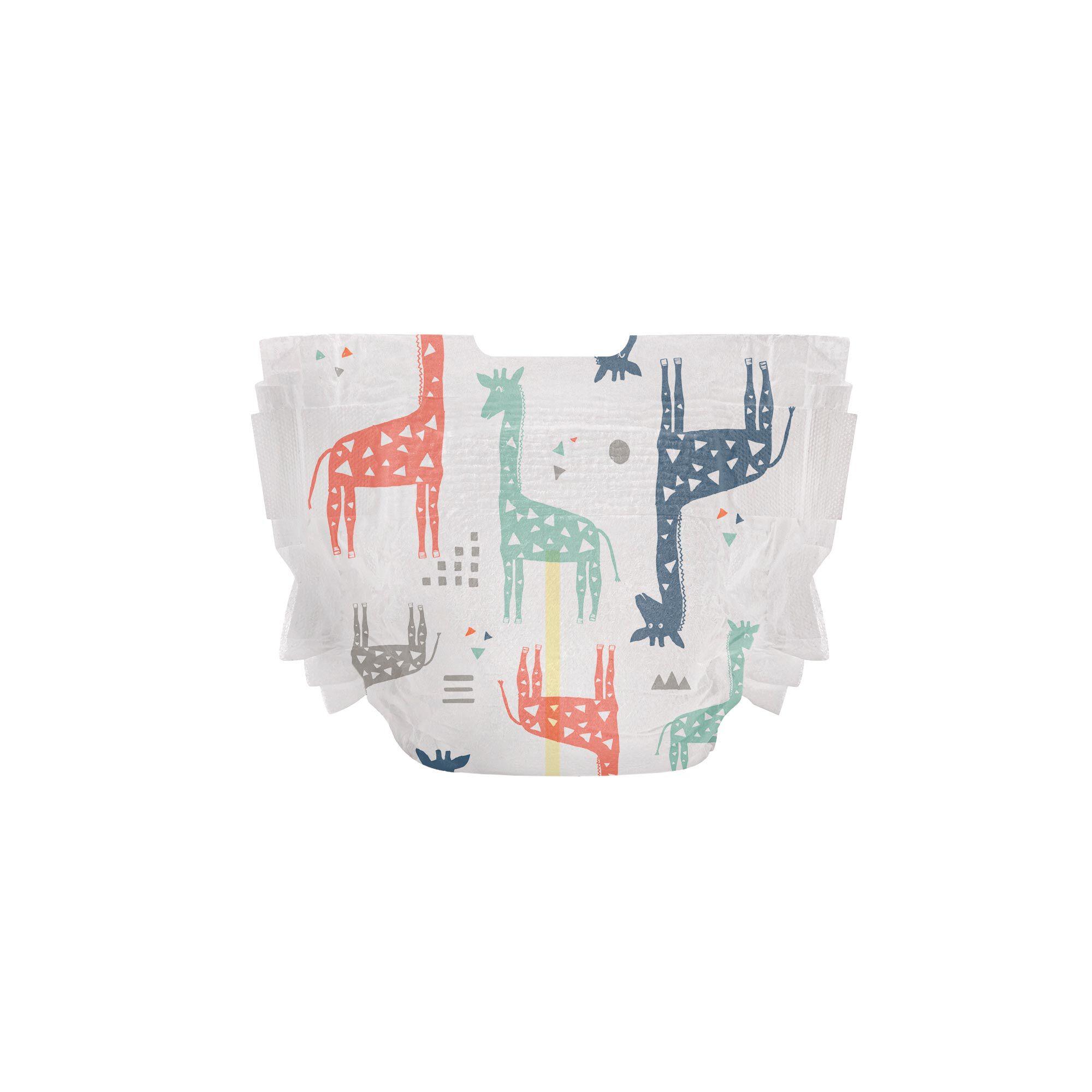 Clean Conscious Diaper, Multi-Colored Giraffes, Size NB