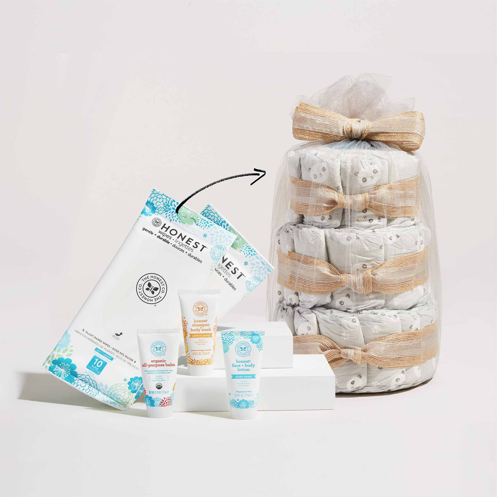 Mini Diaper Cake with Products