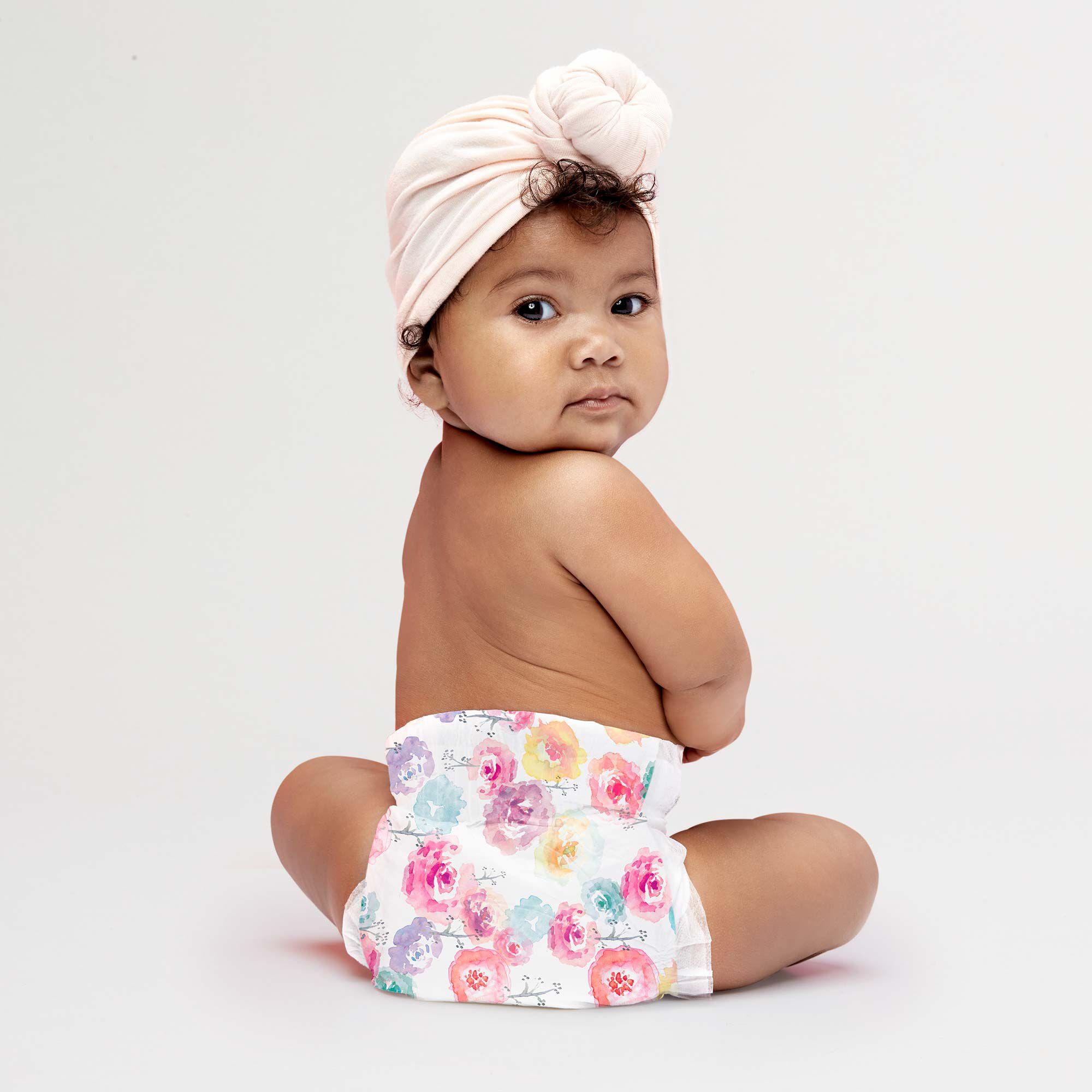 rose blossom diaper on baby