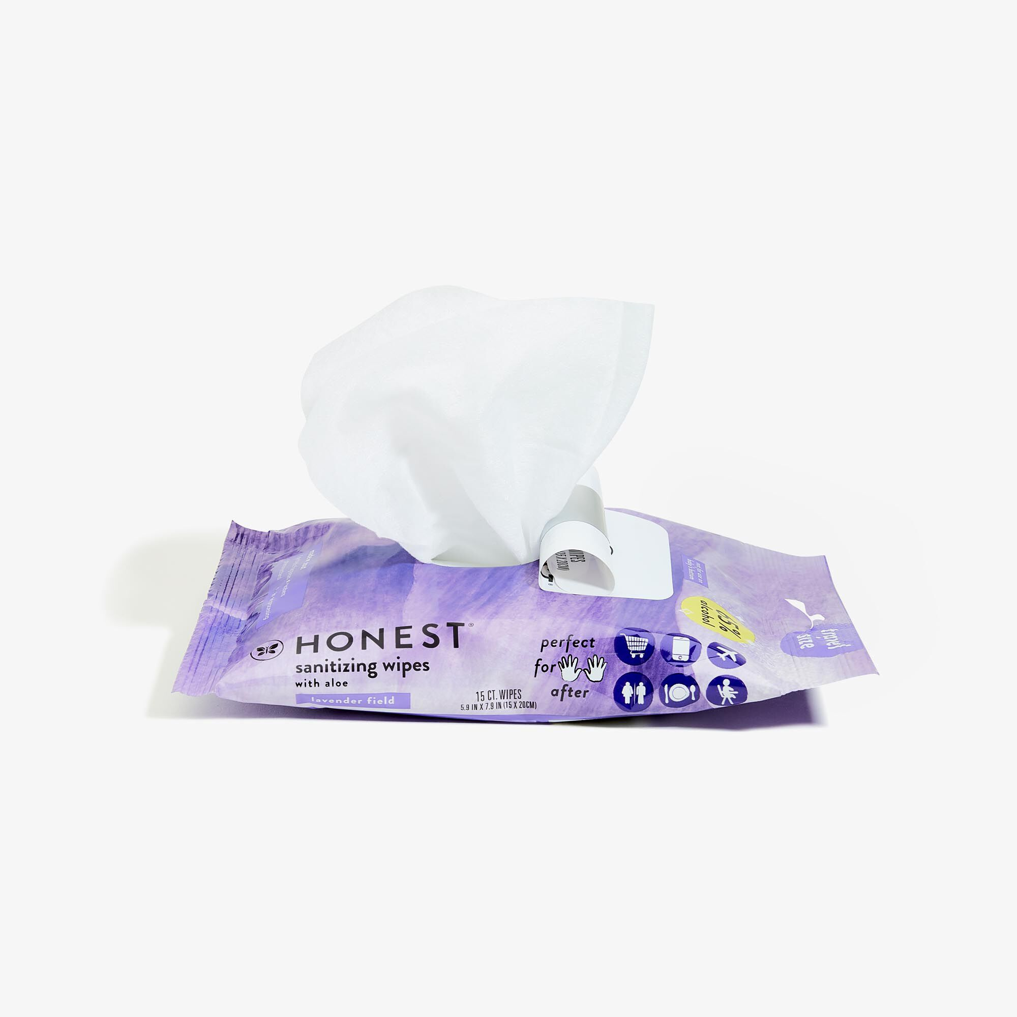 Sanitizing Alcohol Wipes, 15 Count, Lavender Field