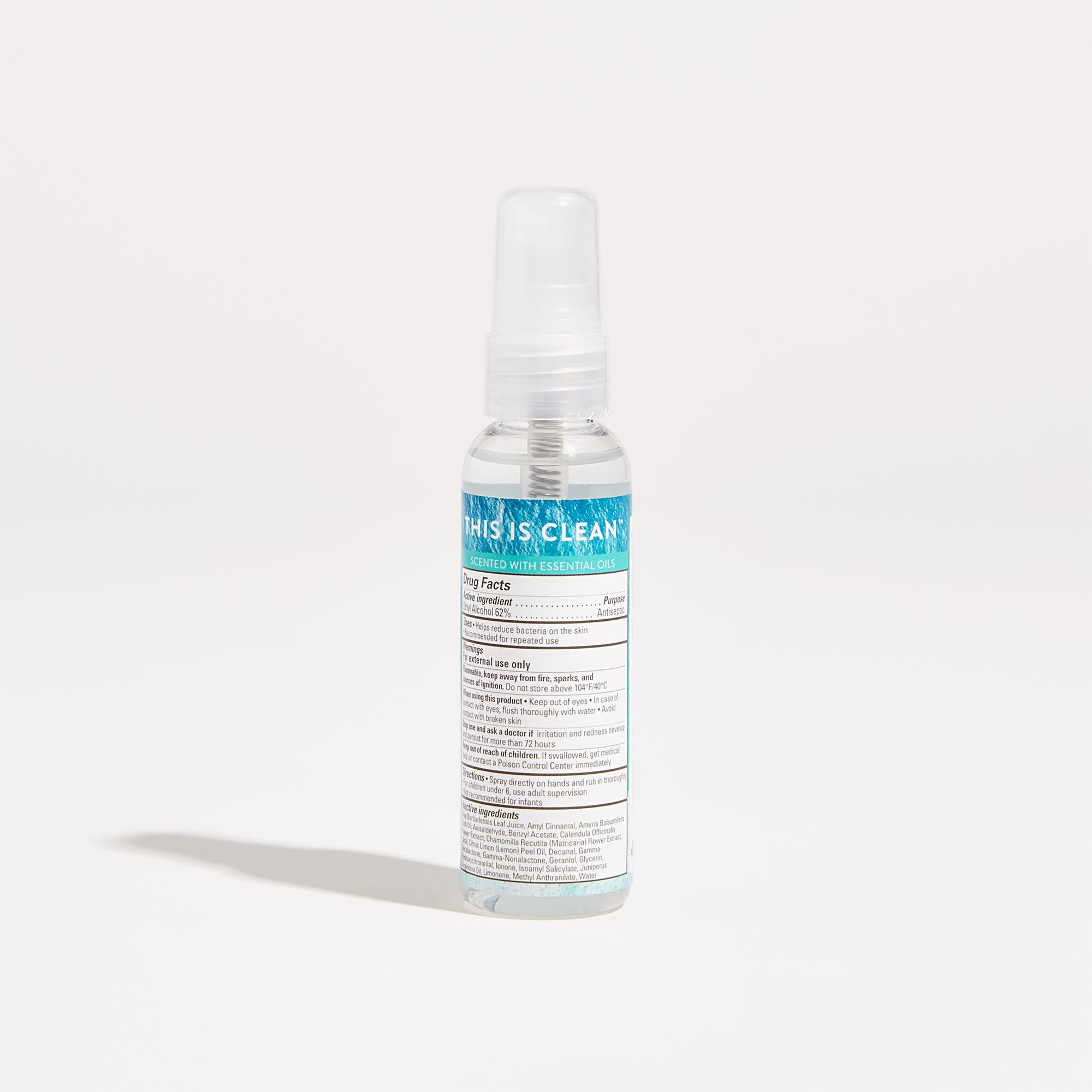 Hand Sanitizer Spray in Costal Surf Scent Back of Product