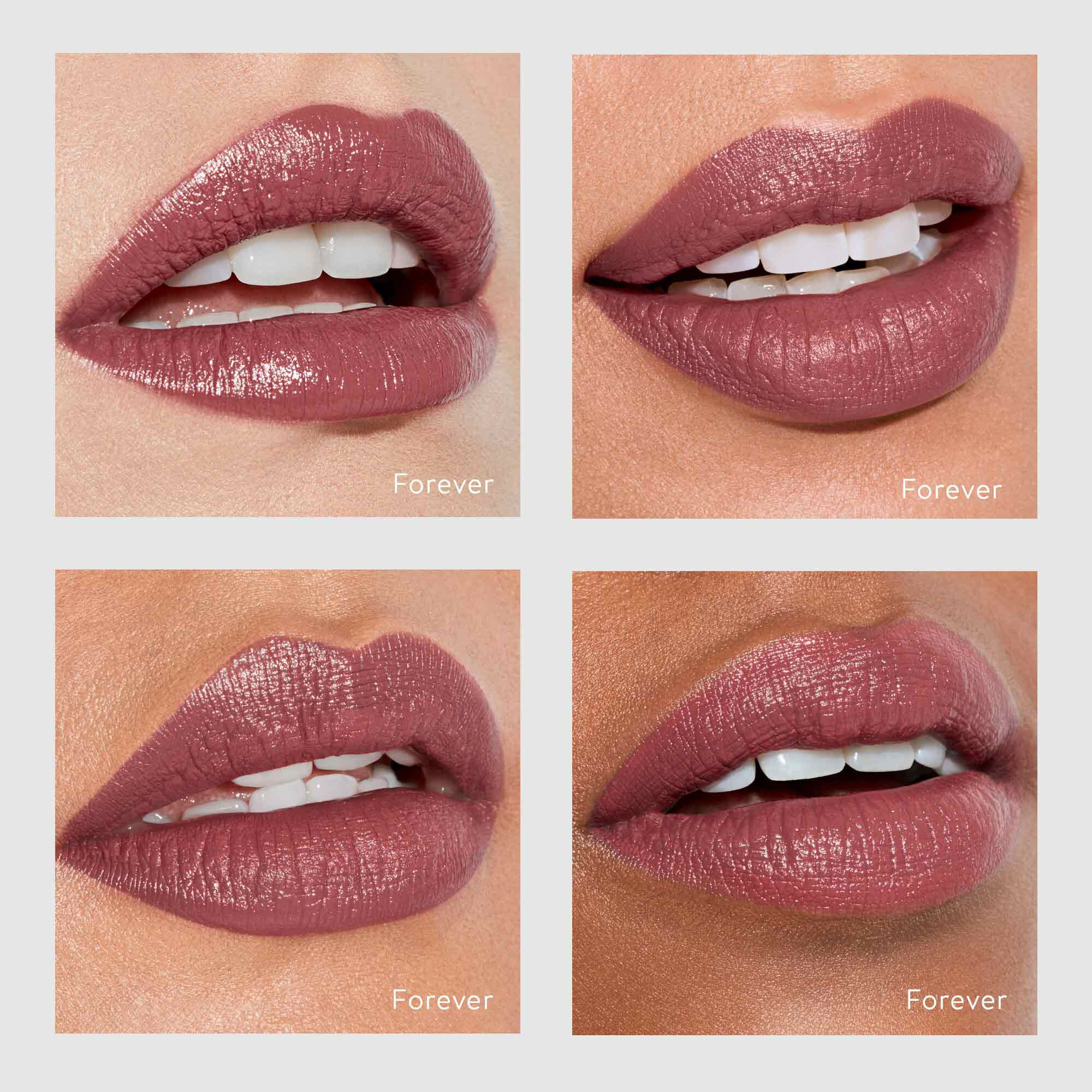 forever lipstick on four different skin shades