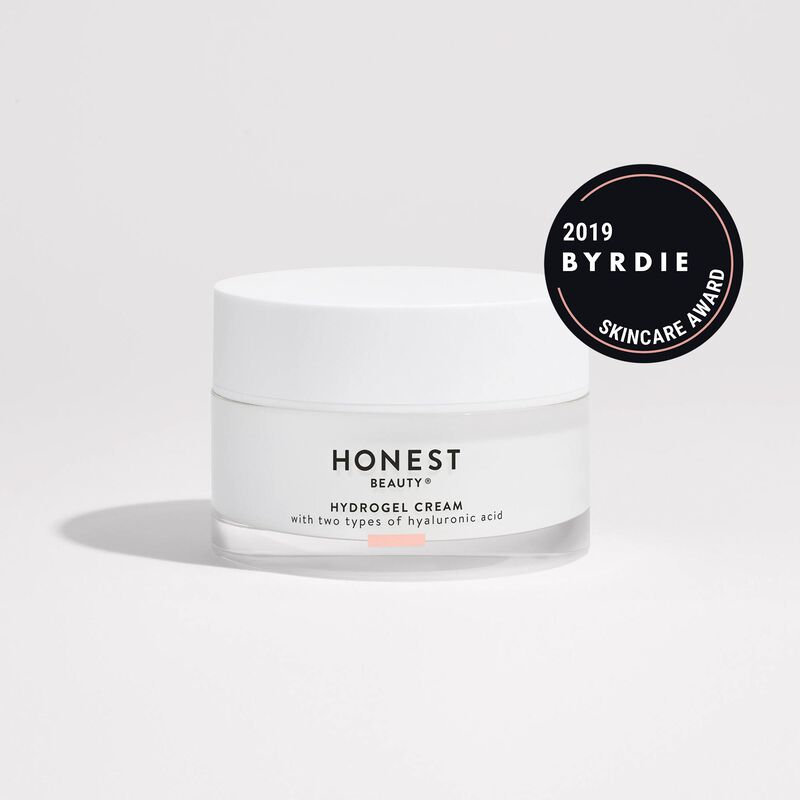 hydrogel cream front of container with 2019 byrdie skincare award