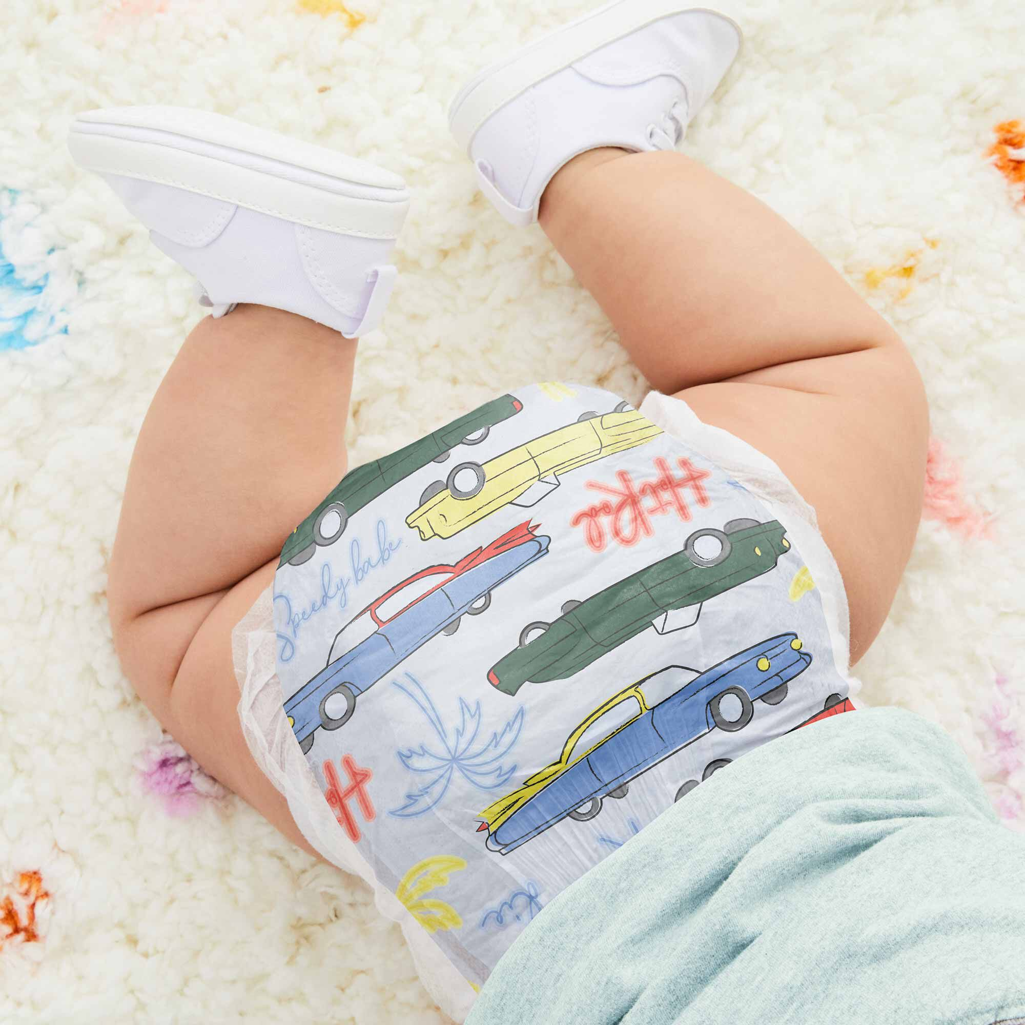Honest Diaper on Baby in Speedy Babe Pattern