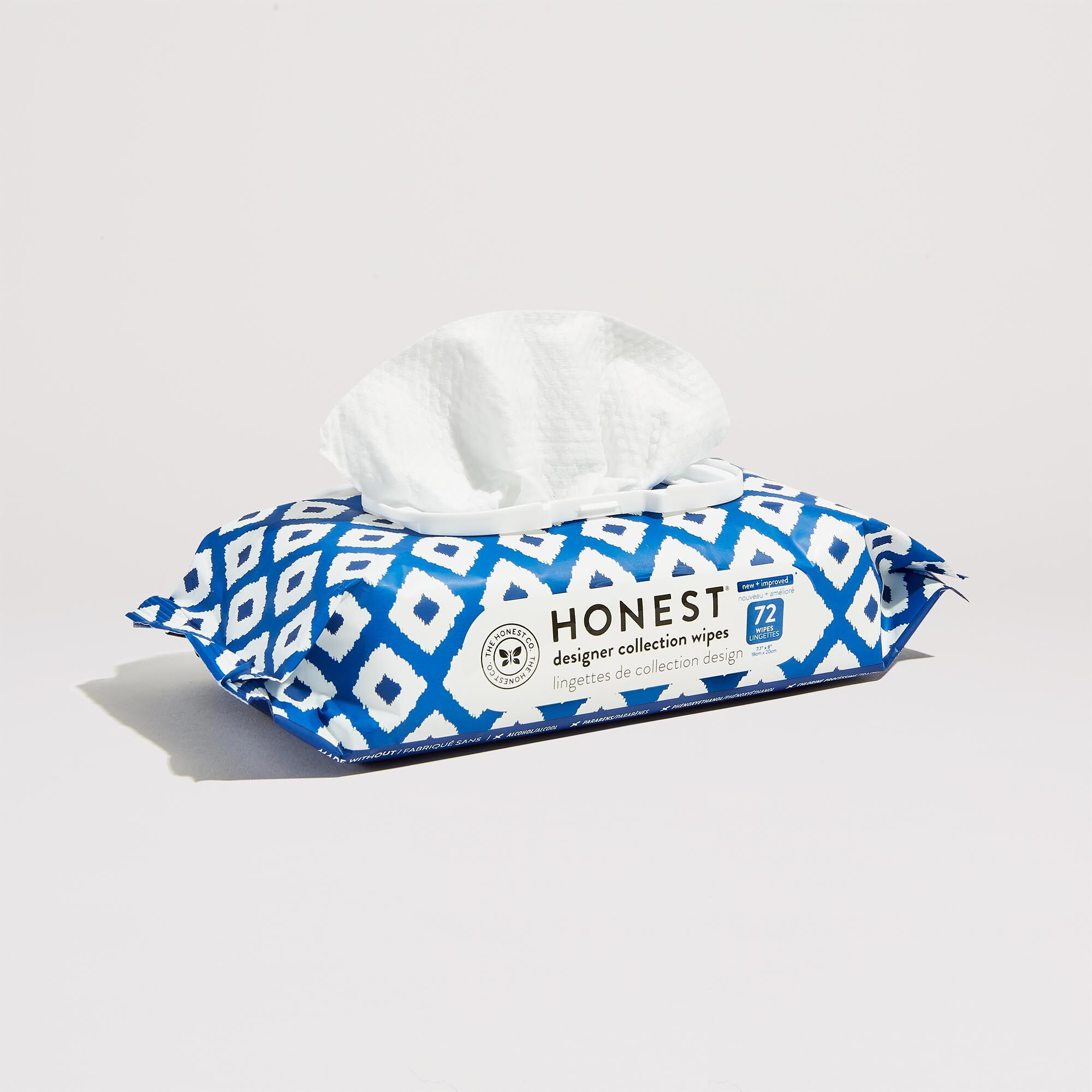 72 count wipes, blue ikat print