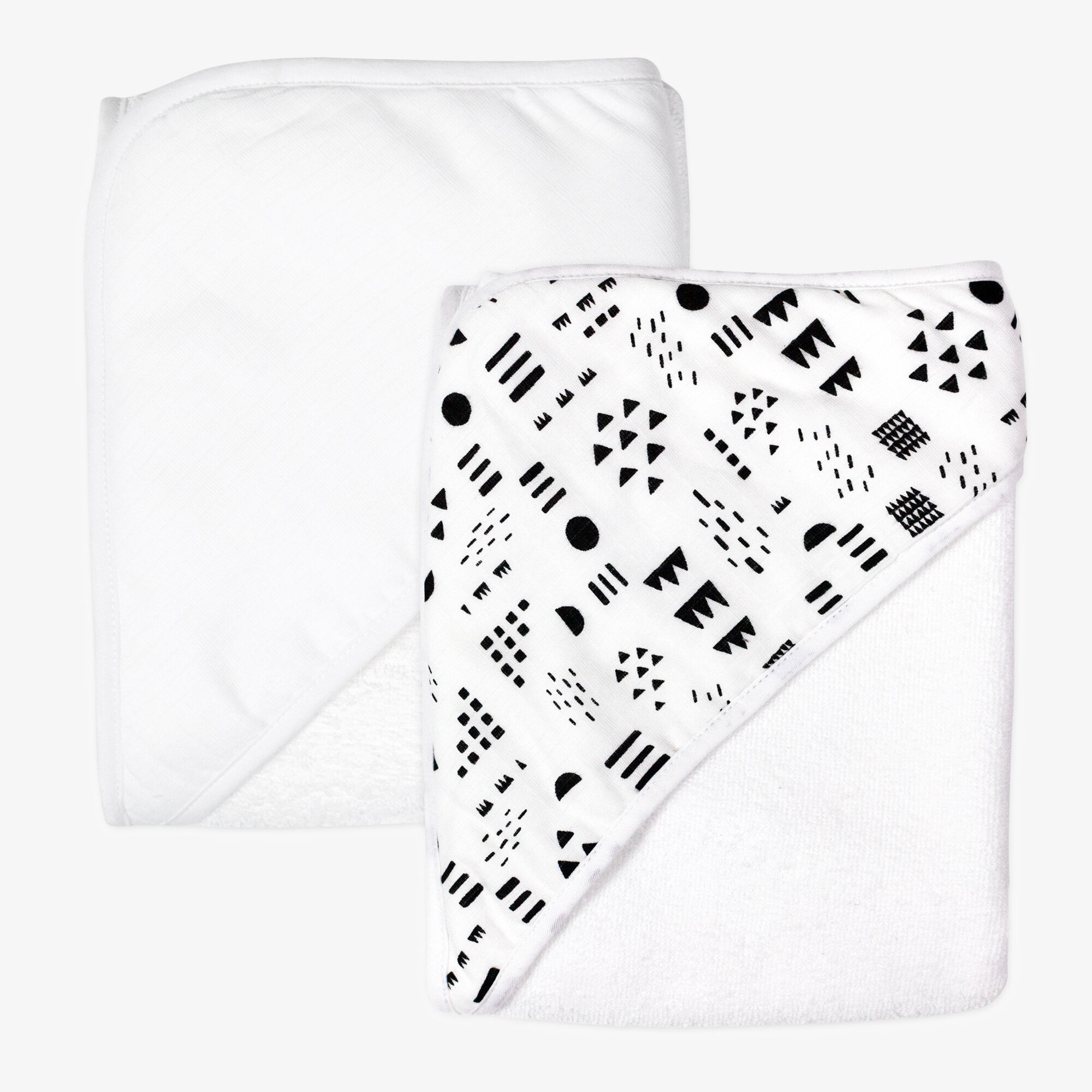 Organic Cotton Hooded Towels, Pattern Play/White, 2-Pack