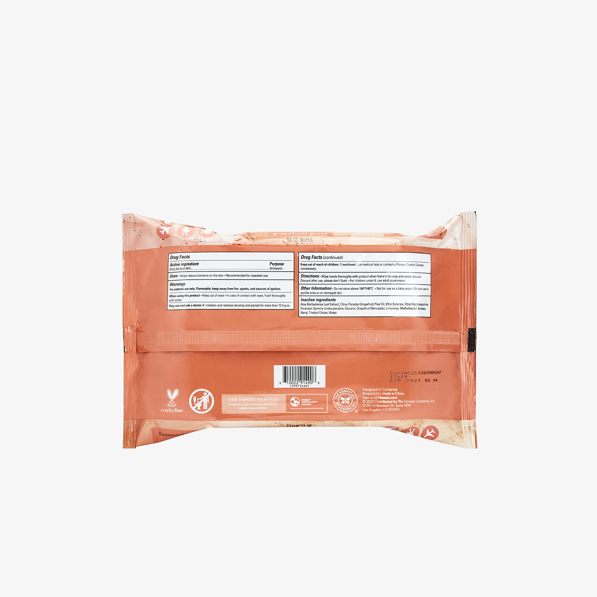 Sanitizing Alcohol Wipes, 50 Count, Grapefruit Grove