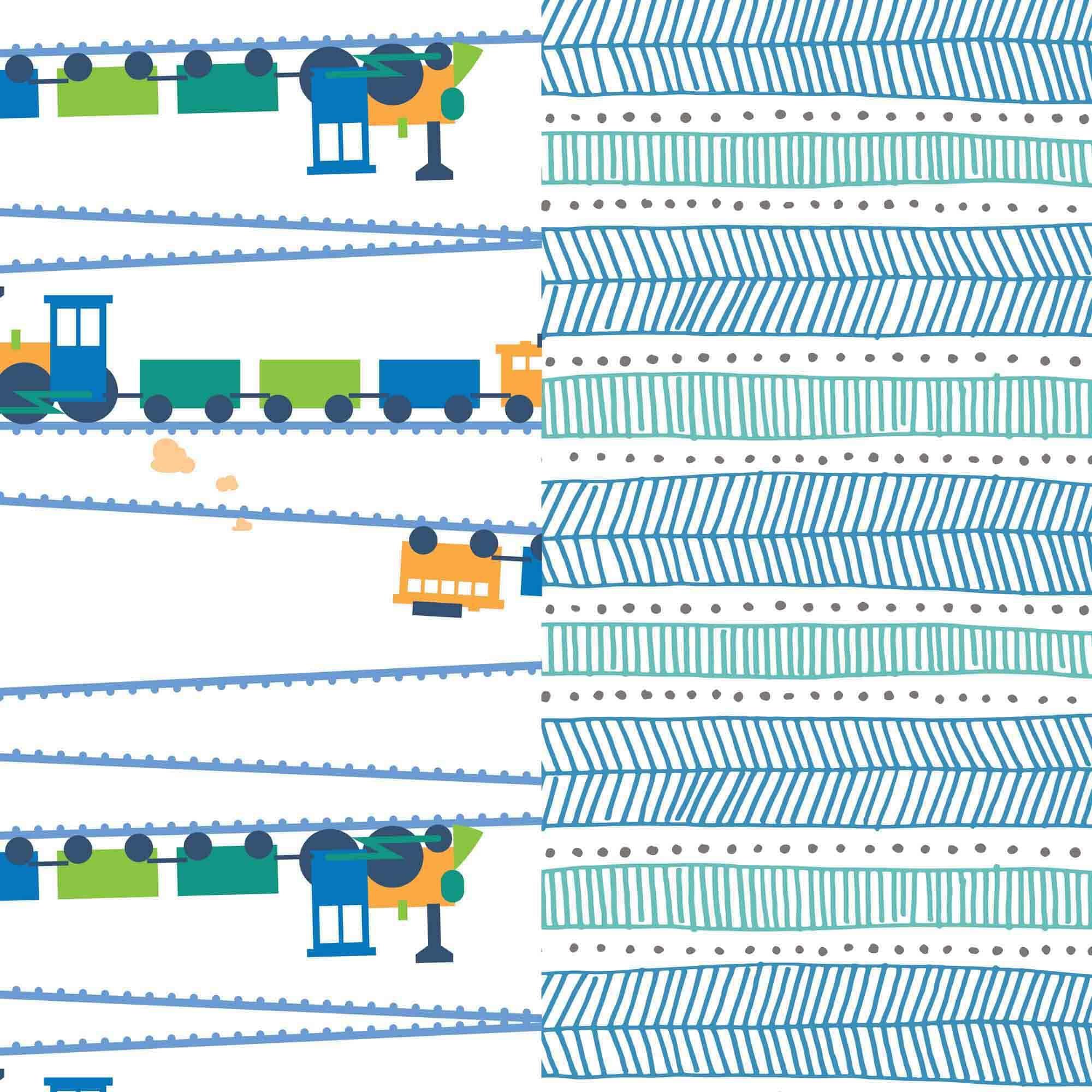 Diaper Box, Trains + Teal Tribal, Size 5