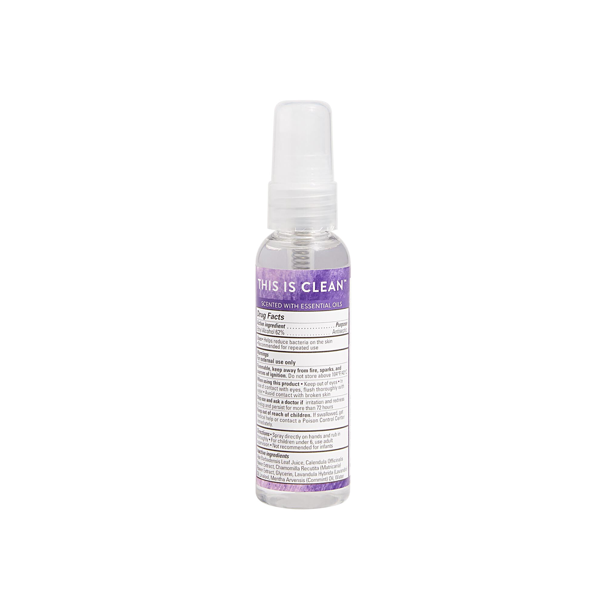 Hand Sanitizer Spray in the Lavender Field Scent Back of Product