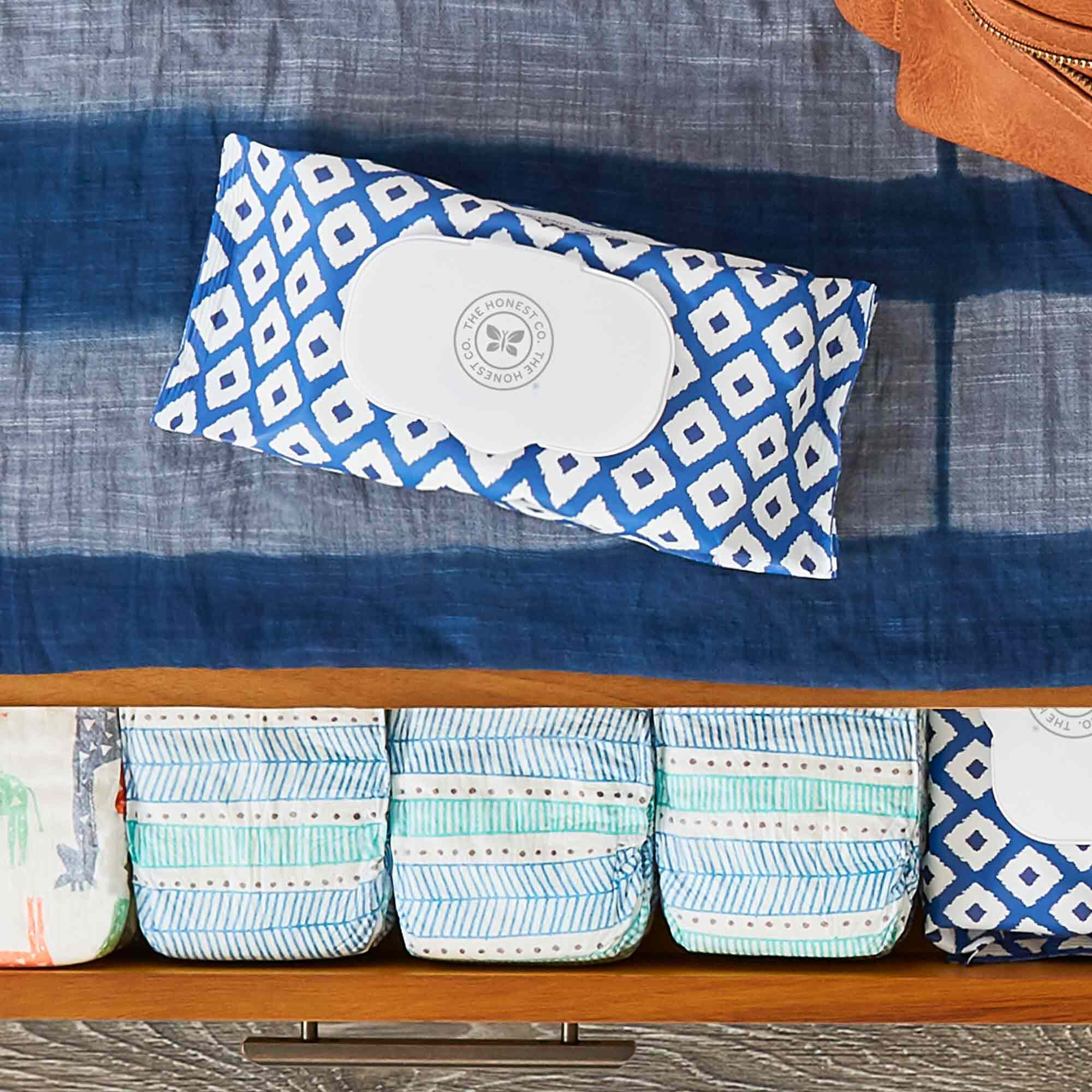 72 count blue ikat wipes on dresser