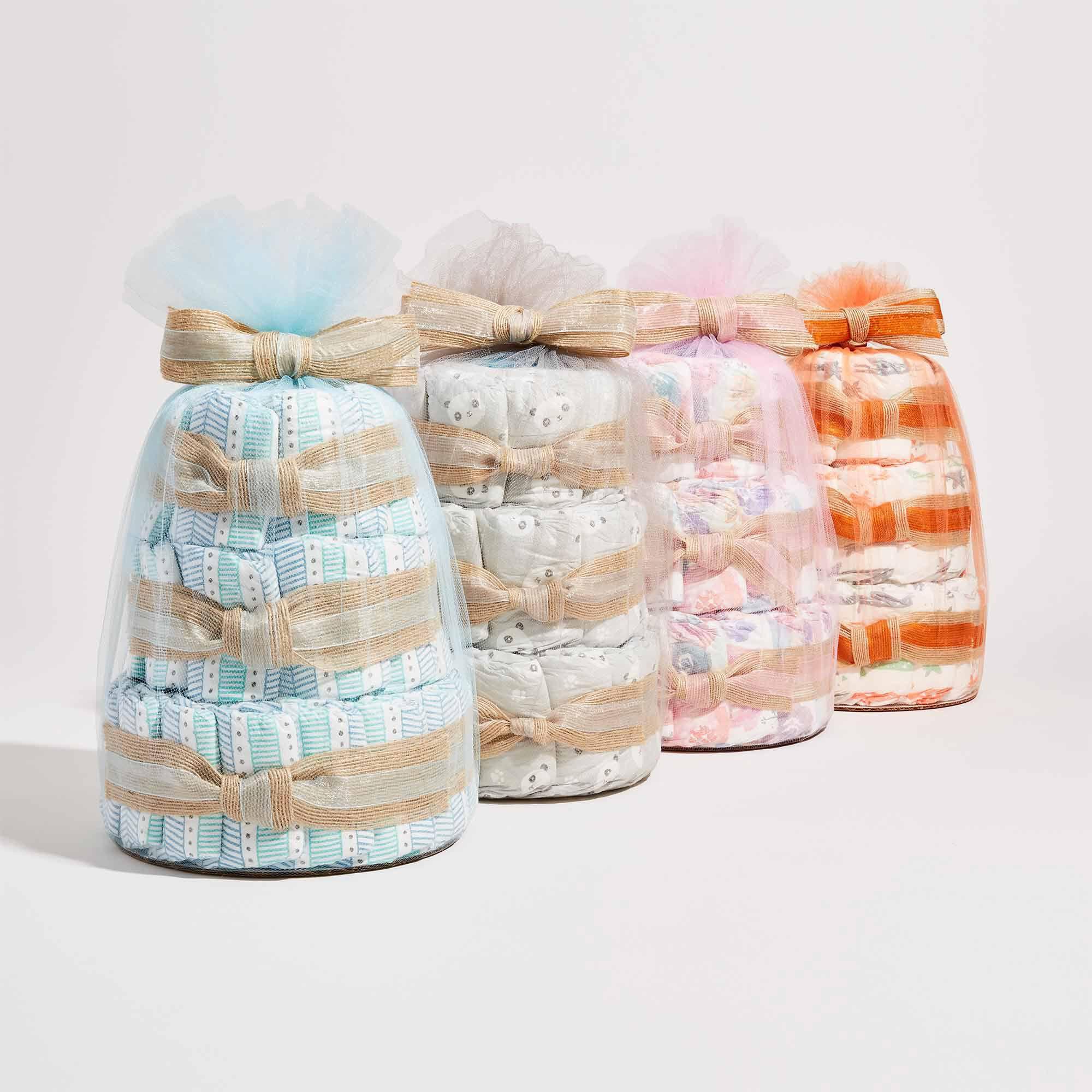 Mini Diaper Cake, Multi-Colored Giraffes