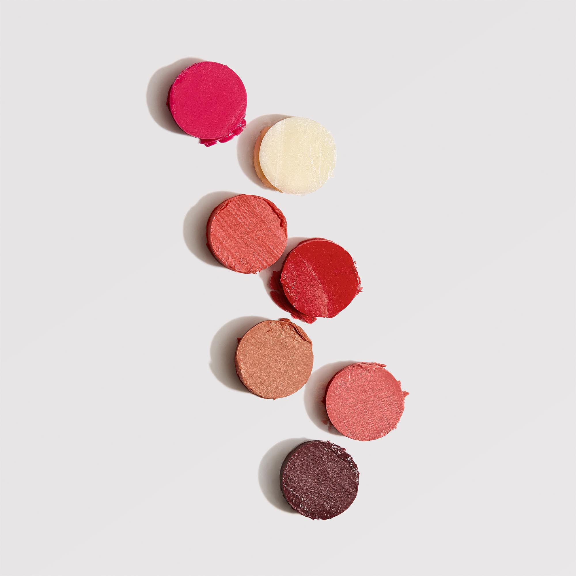 circular swatches of all tinted lip shades
