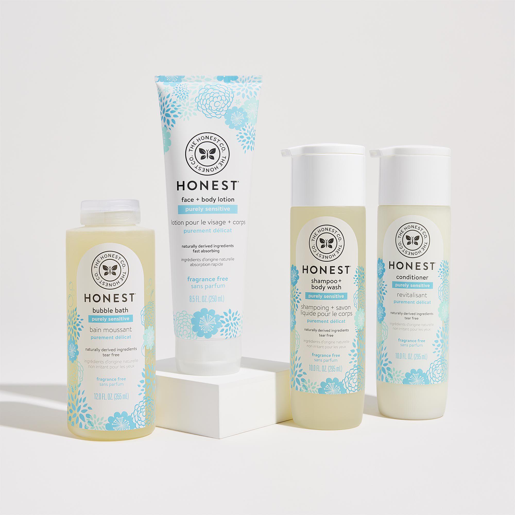 Purely Sensitive Bathtime Routine, contents include shampoo, conditioner, lotion and bubble bath