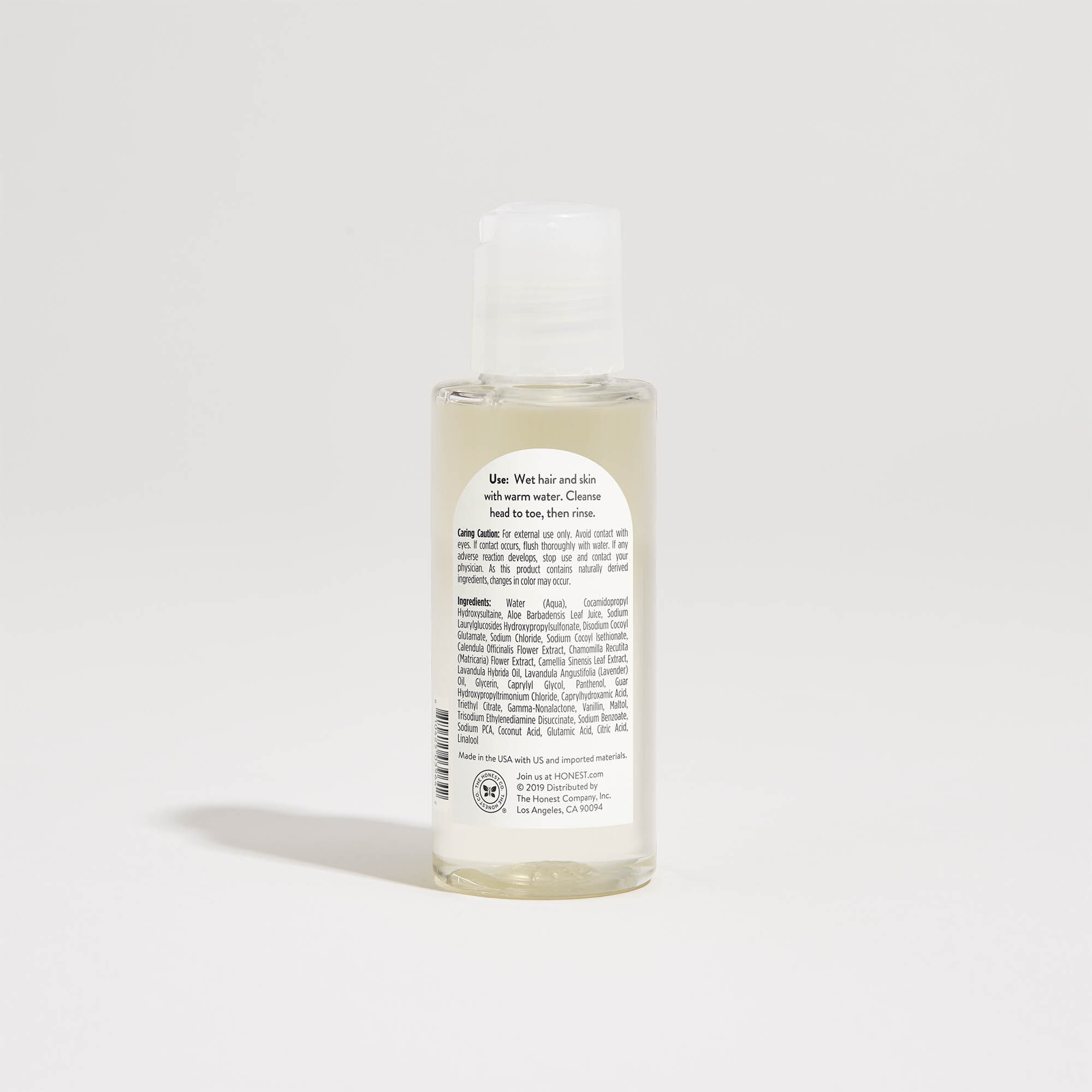 Lavender Scented Shampoo + Body Wash, back of product