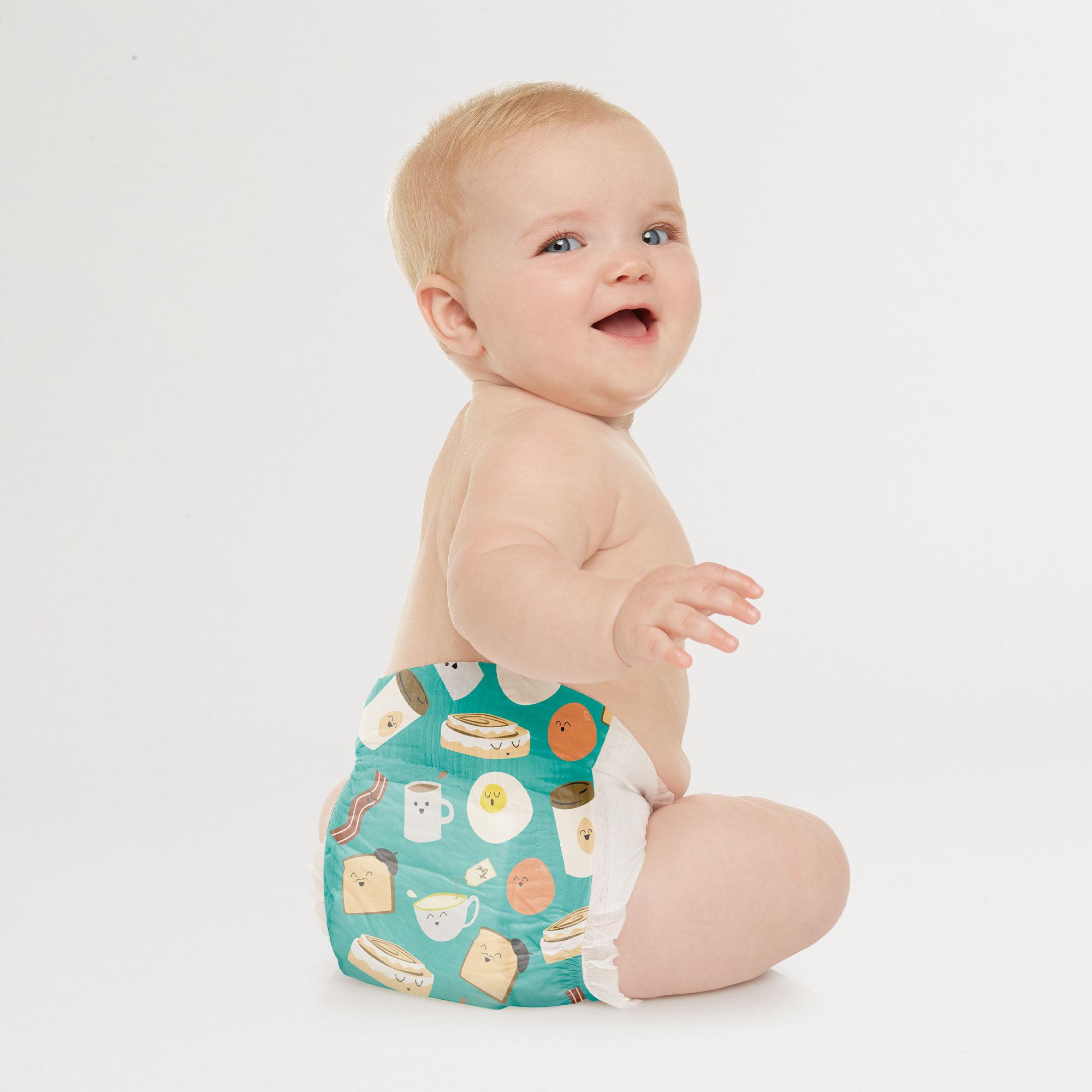 Honest Diaper on Baby in Breakfast Pattern