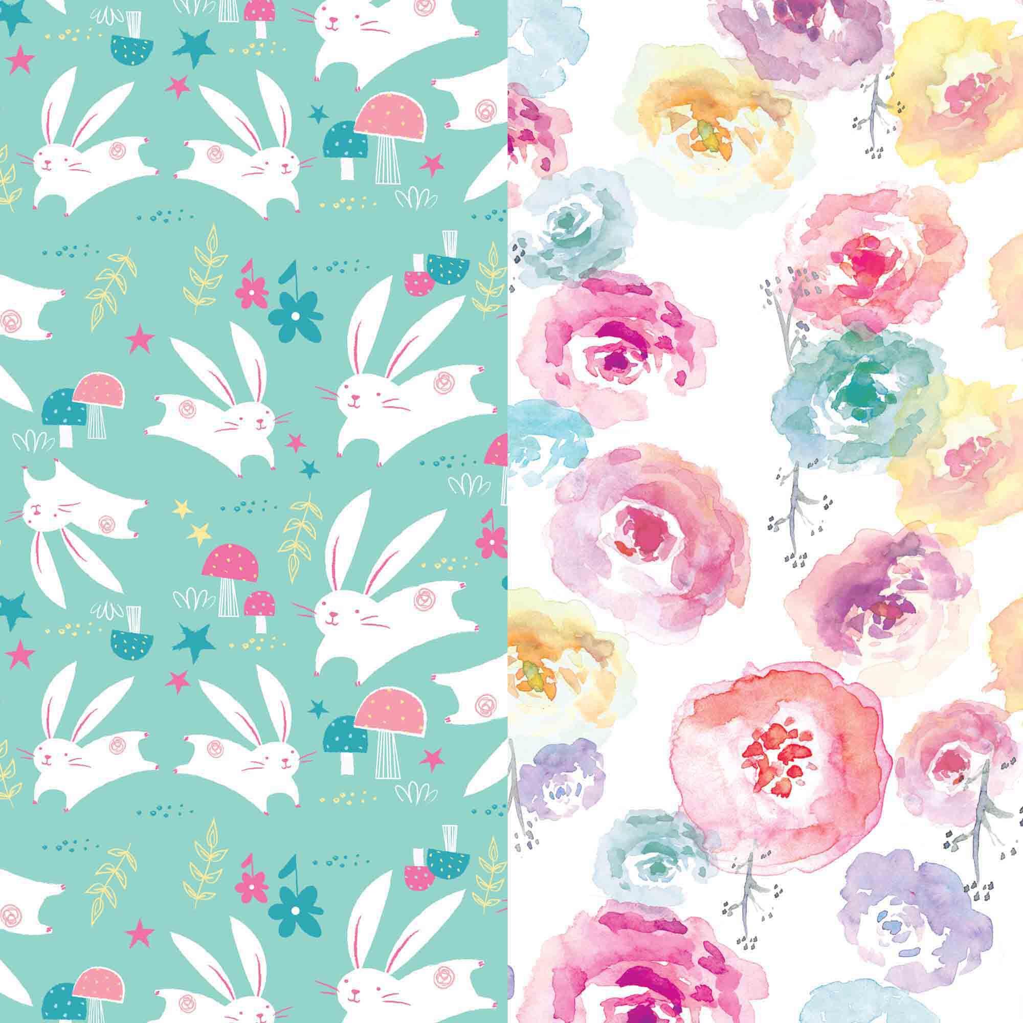 Diaper Box, Rose Blossom + Bunnies, Size 1