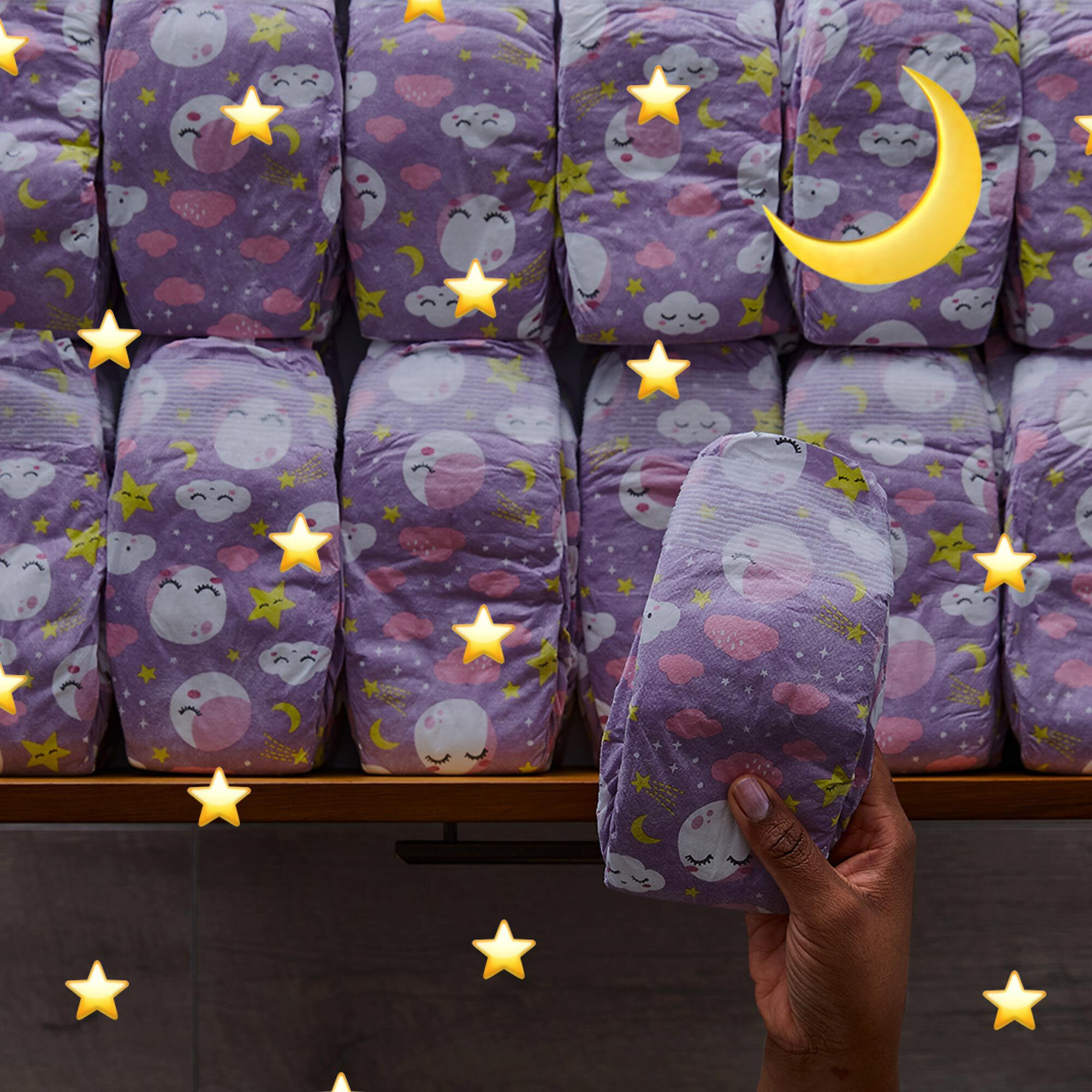 Overnight Diapers, Starry Night, Size 6