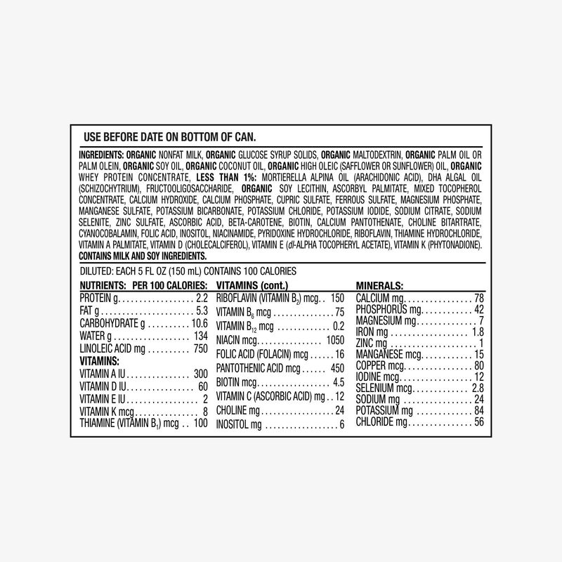Organic Sensitive Infant Formula drug fact panel