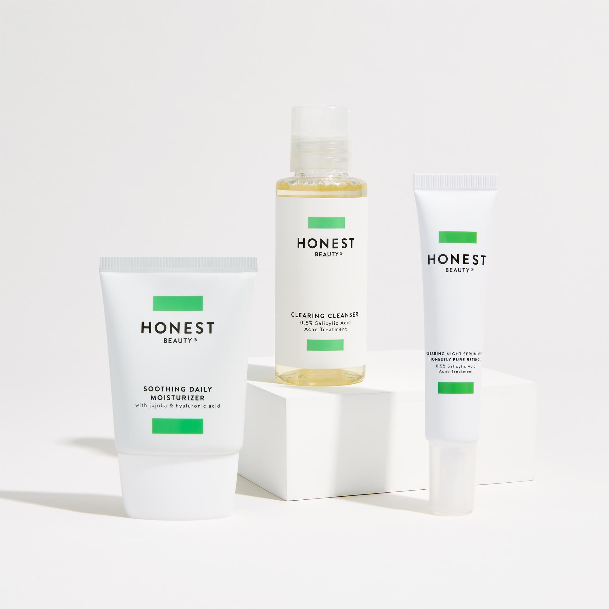 Clearing Acne Regimen Kit with cleanser, serum, and moisturizer