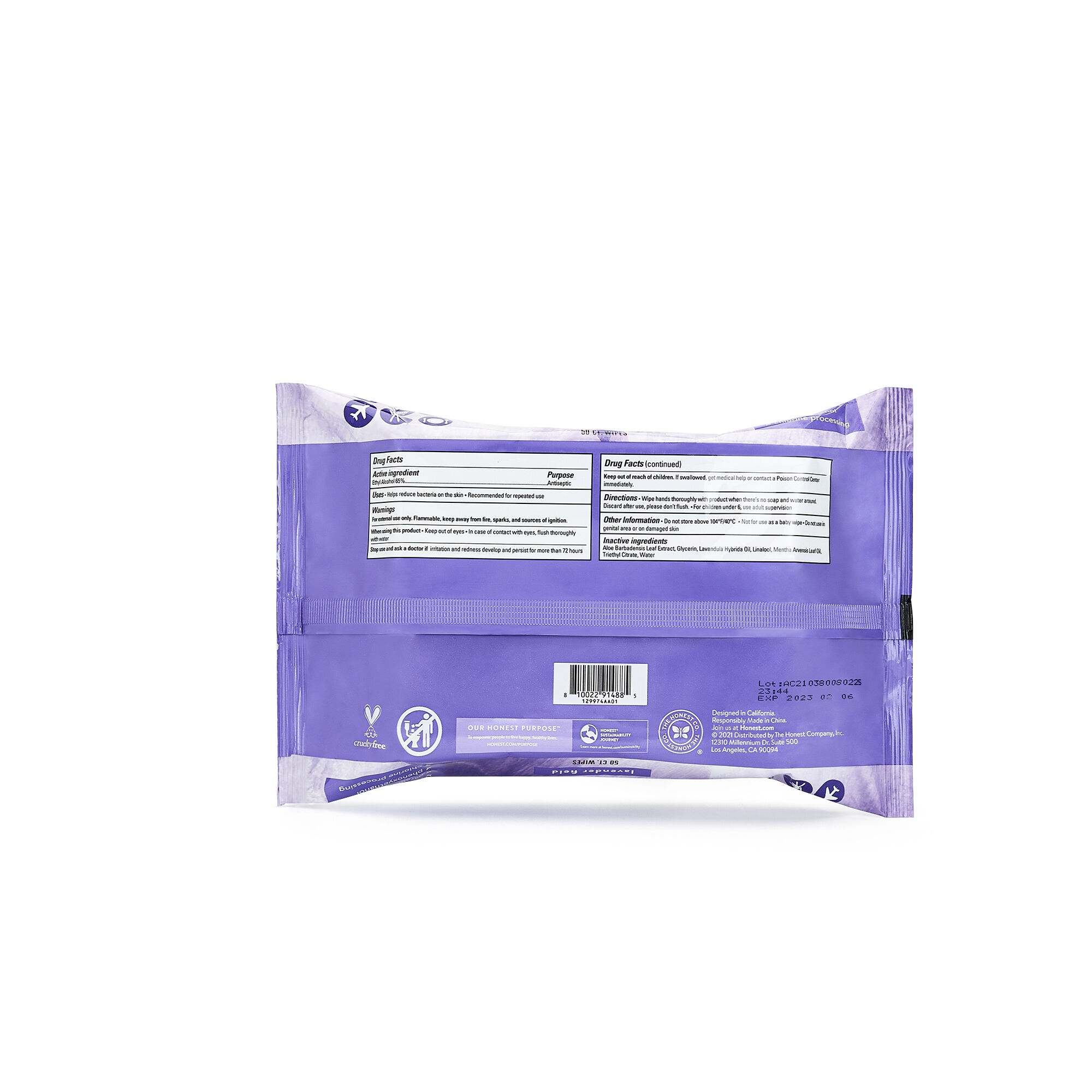 Sanitizing Alcohol Wipes, 50 Count, Lavender Field
