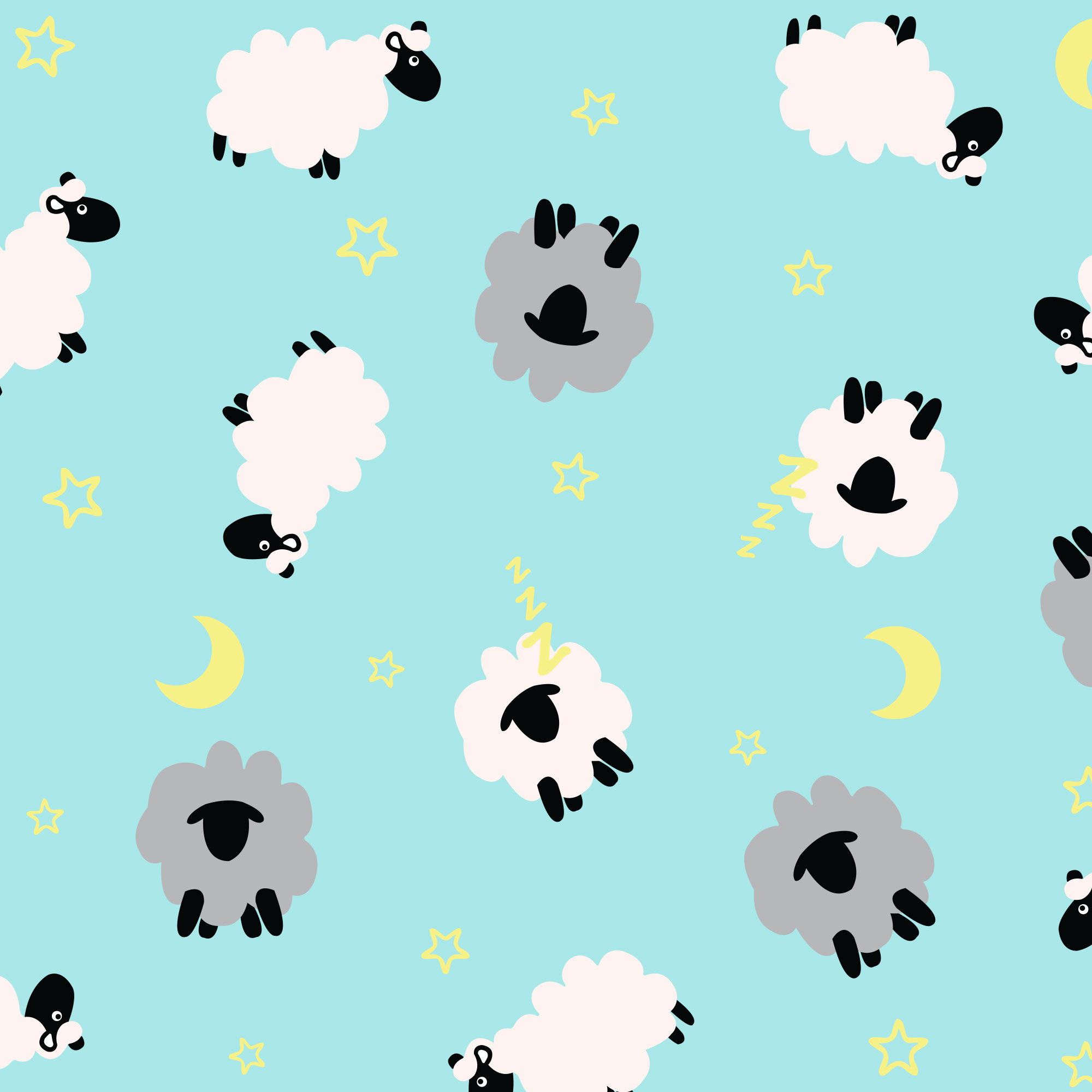 sleepy sheep print swatch, blue color