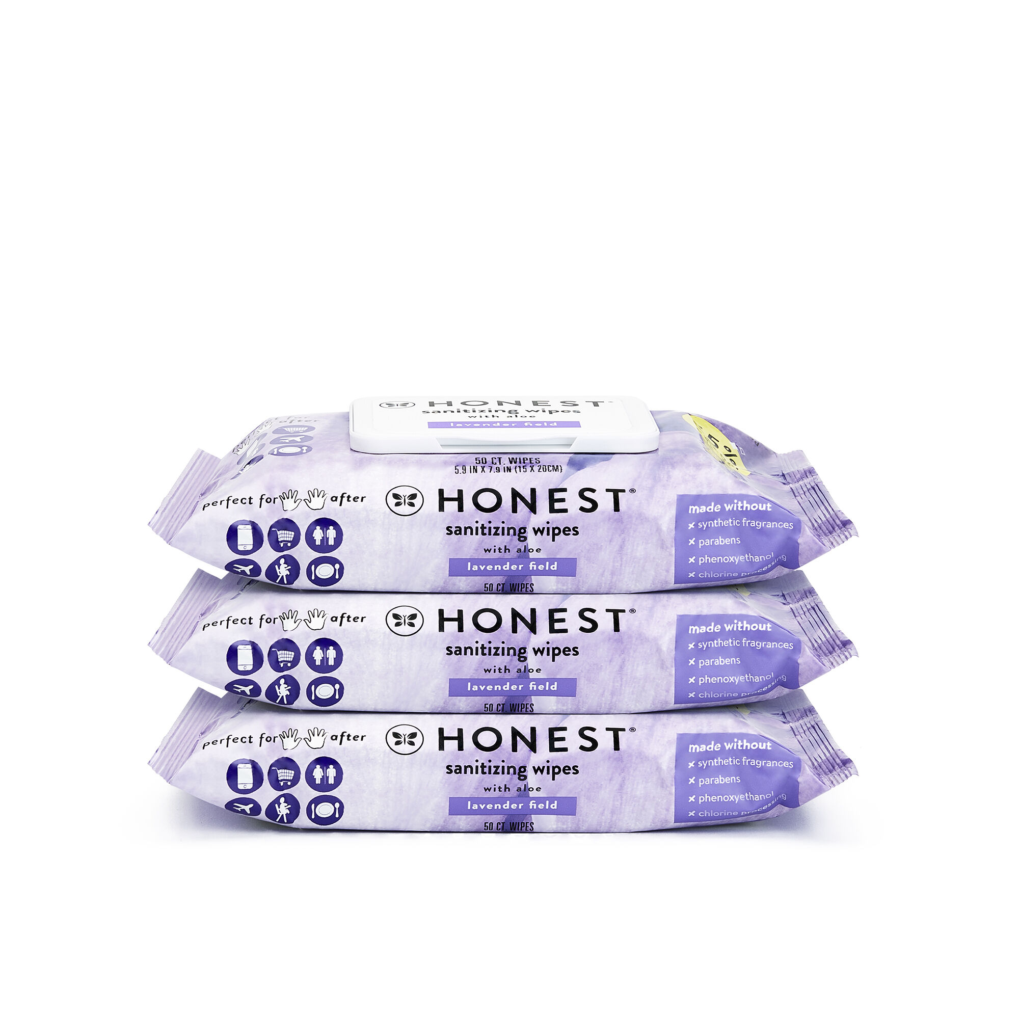 Sanitizing Alcohol Wipes, 150 Count, Lavender Field