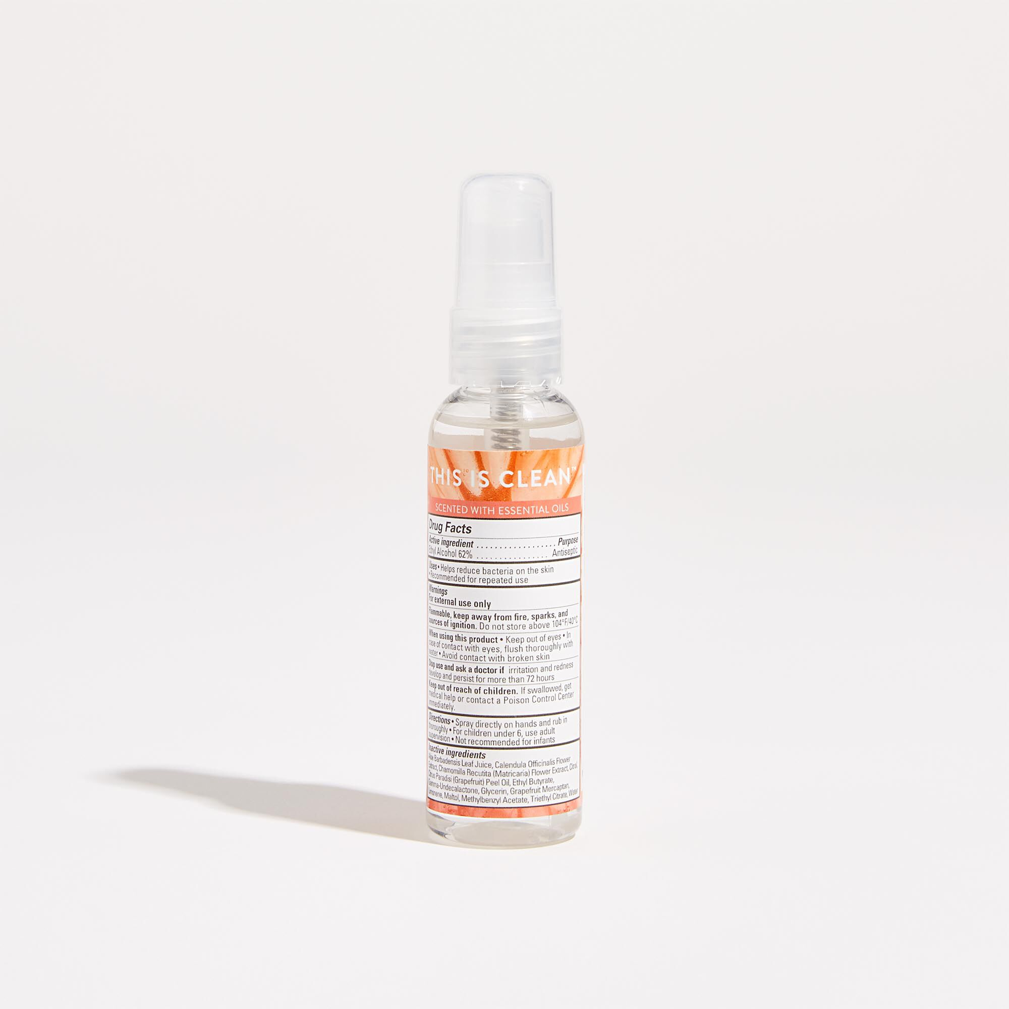 Hand Sanitizer Spray in the Grapefruit Grove Scent Back of Product