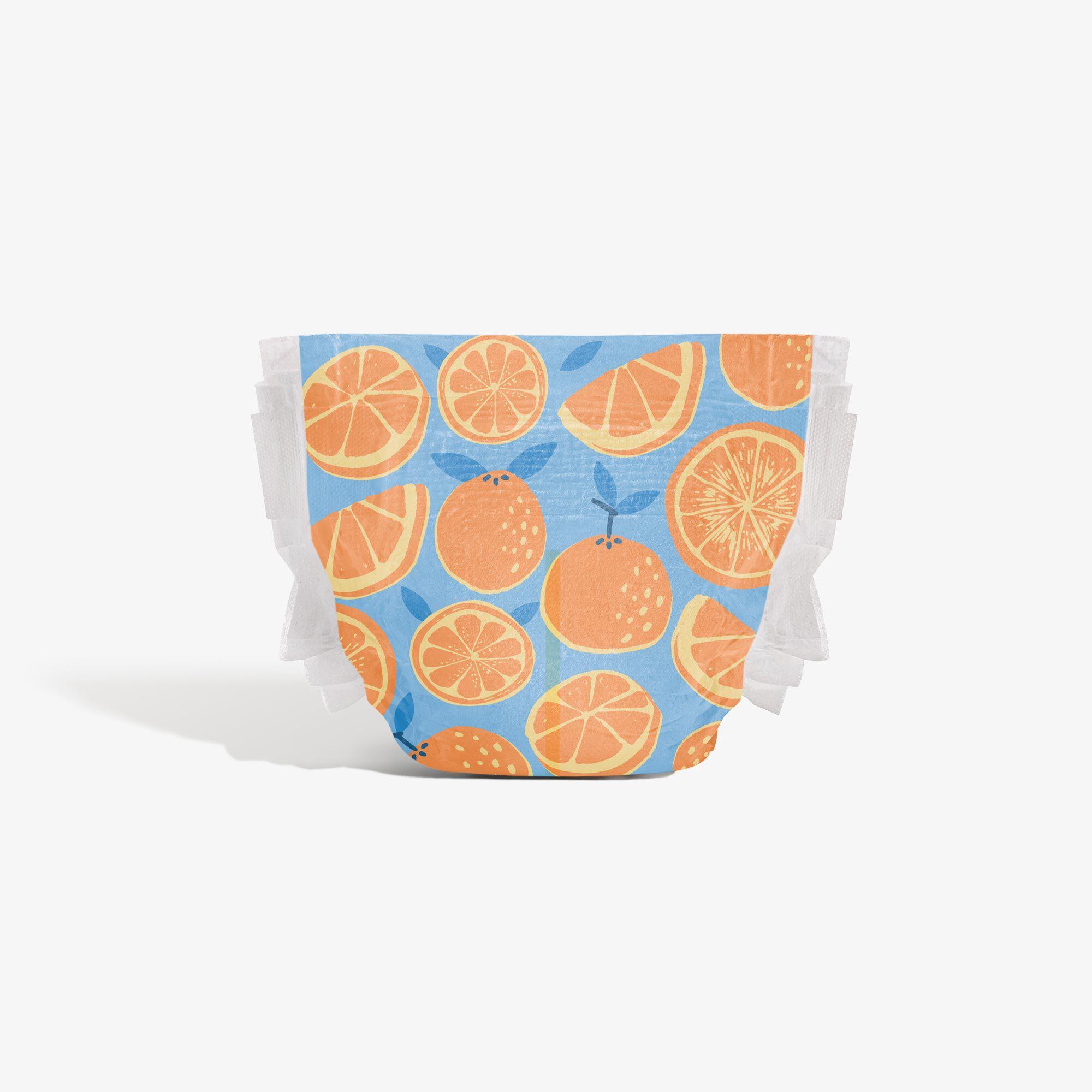 Clean Conscious Diaper, Orange You Cute, Size 4