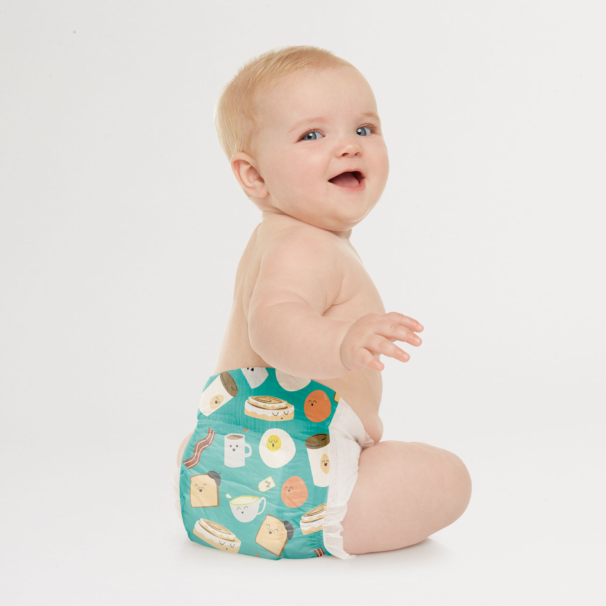 Honest Diaper on Baby in Breakfast Pattern