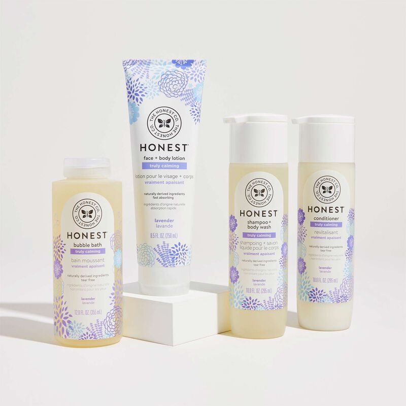 Truly Calming Bathtime Routine, contents include shampoo, conditioner, lotion and bubble bath