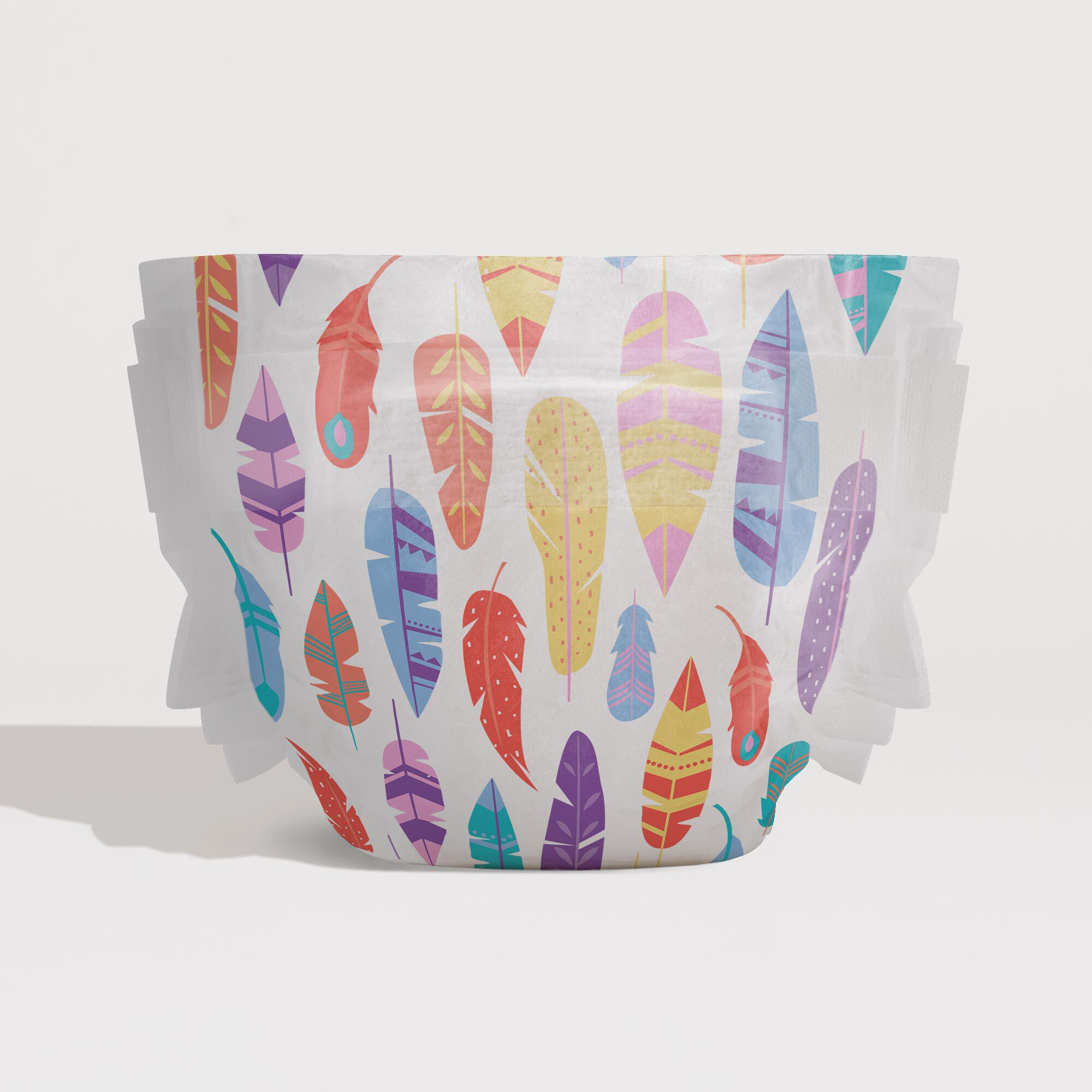 painted feathers print diaper