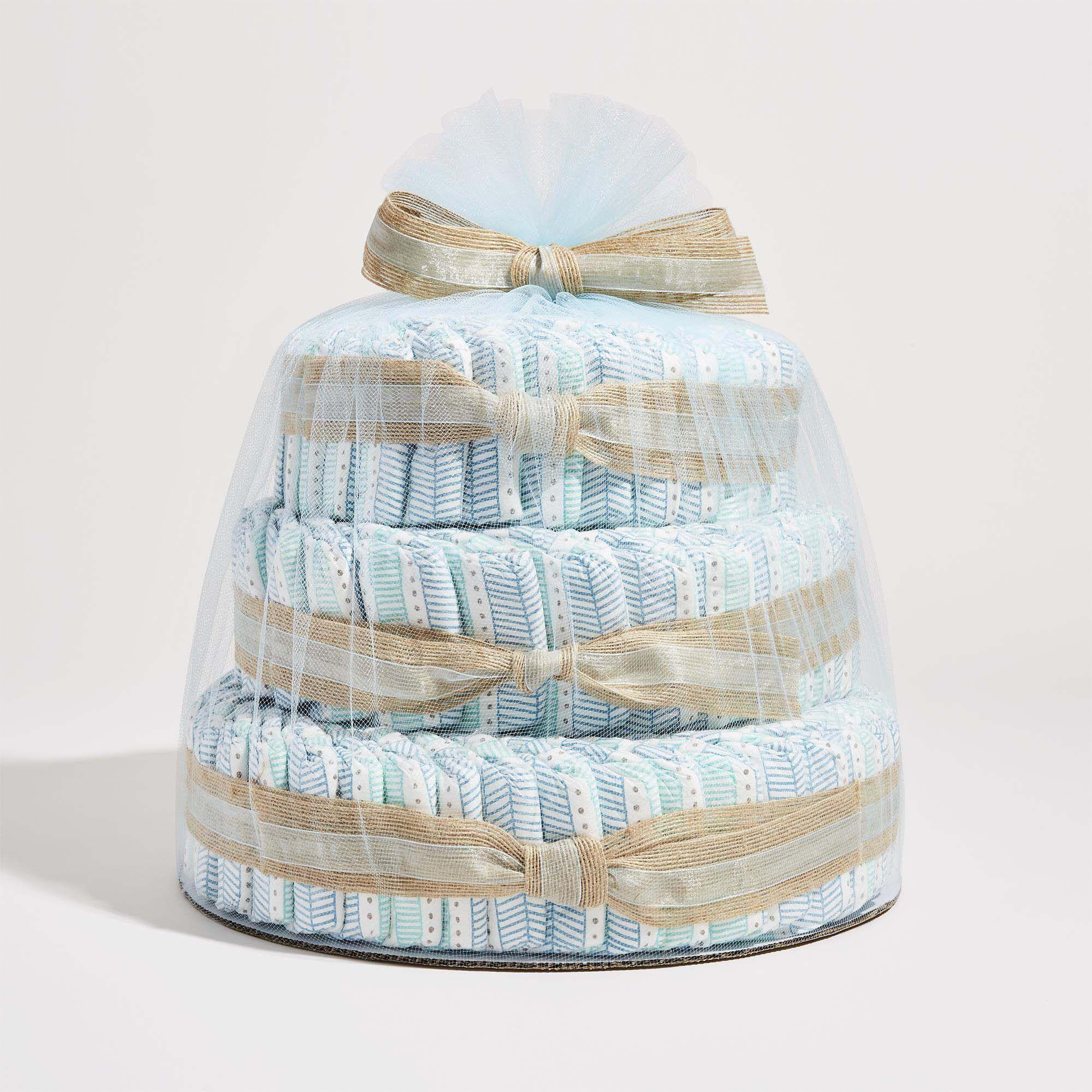 Teal Tribal Printed Diaper Cake