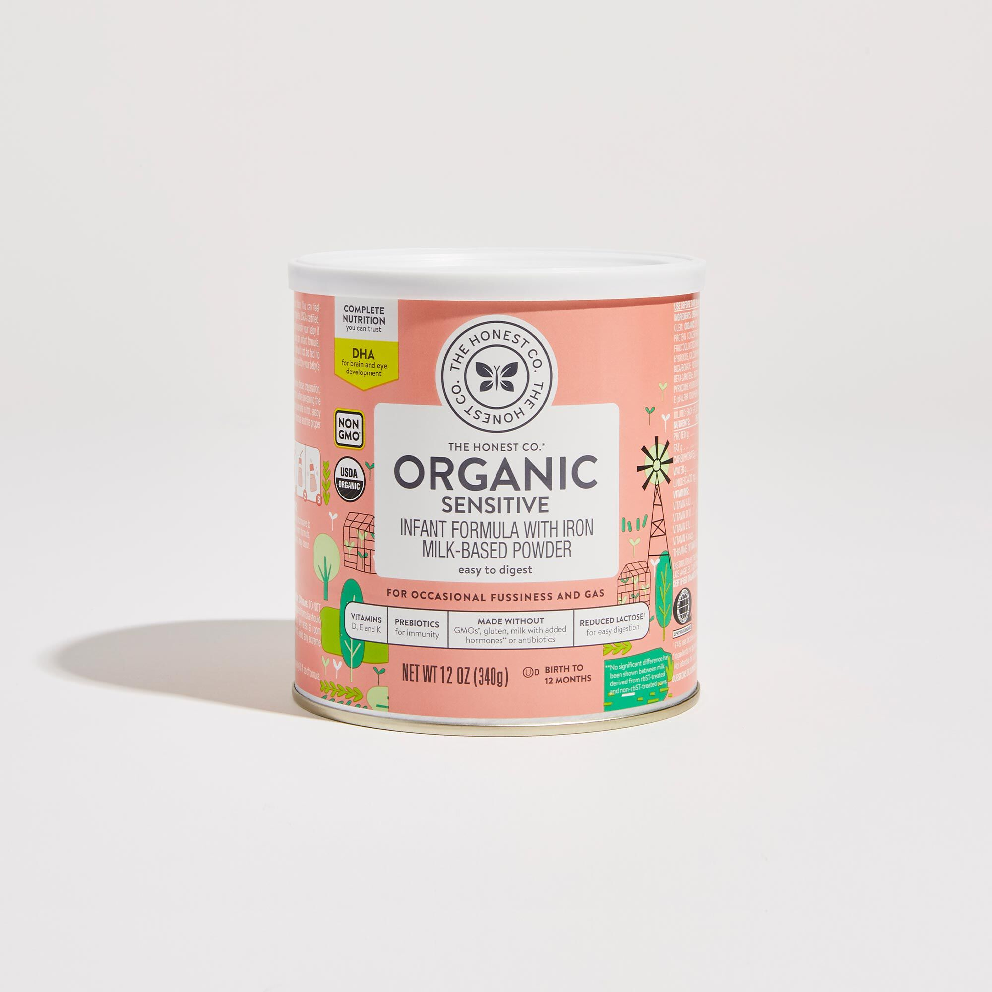 12 ounce Organic Sensitive Infant Formula Front of Container