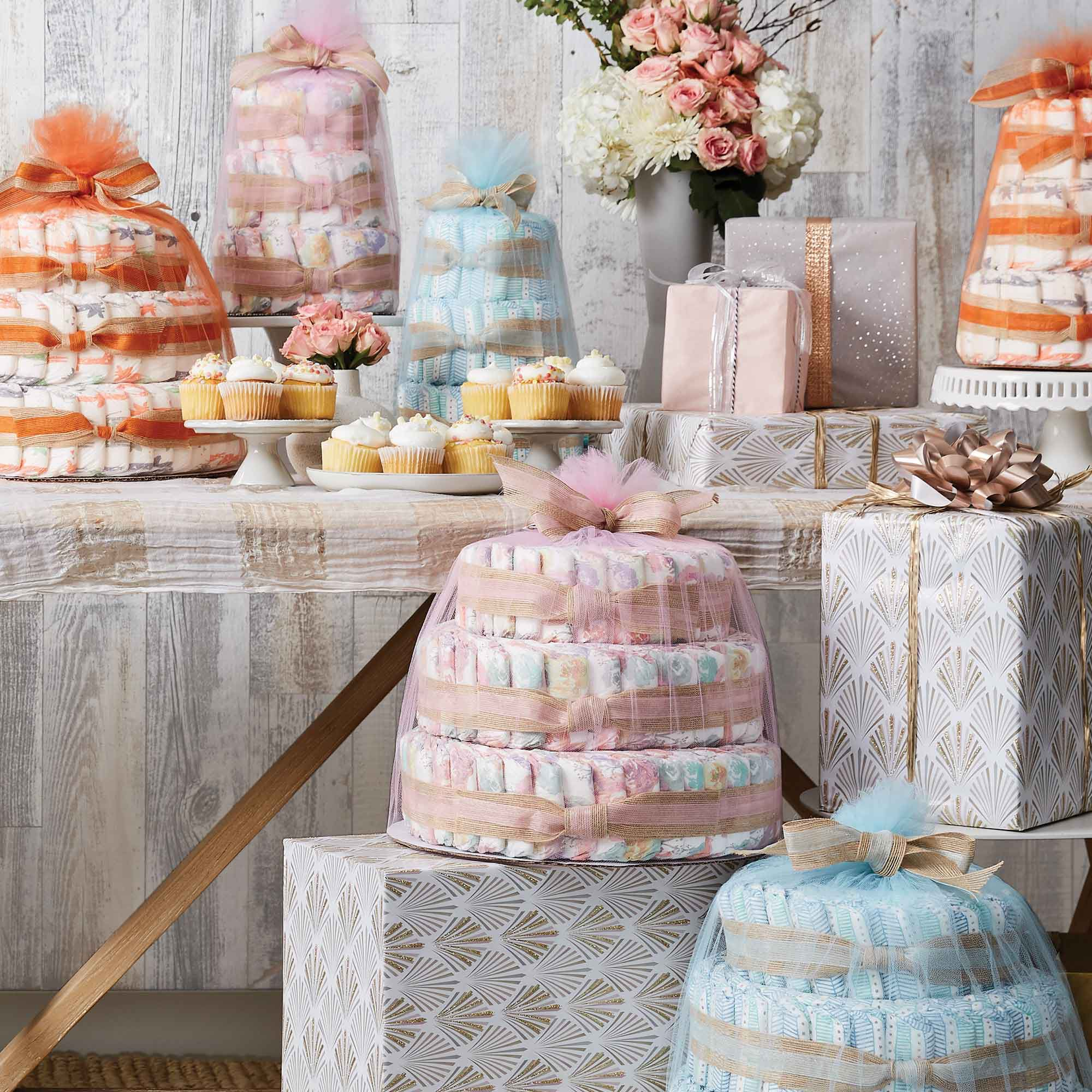 diaper cakes in baby shower setting